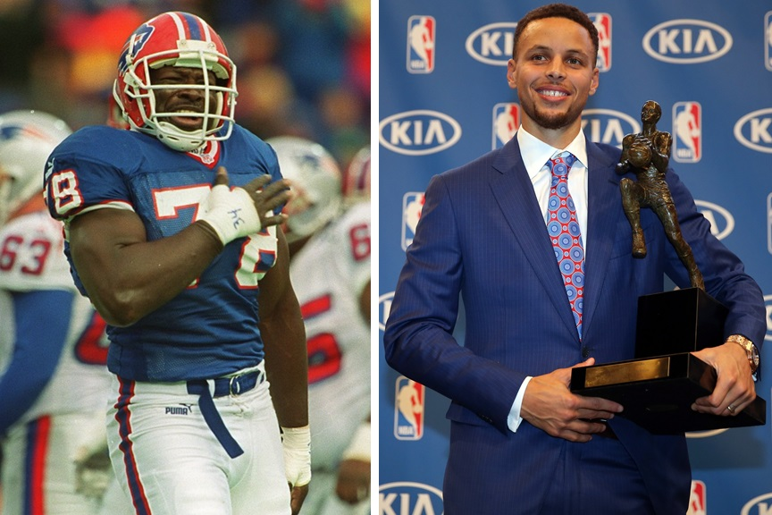 The Bills will retire No. 78, and Steph Curry won the NBA MVP award unanimously. These topics and more on 'Sports Talk Sunday.' (Buffalo News file photo/Getty Images)