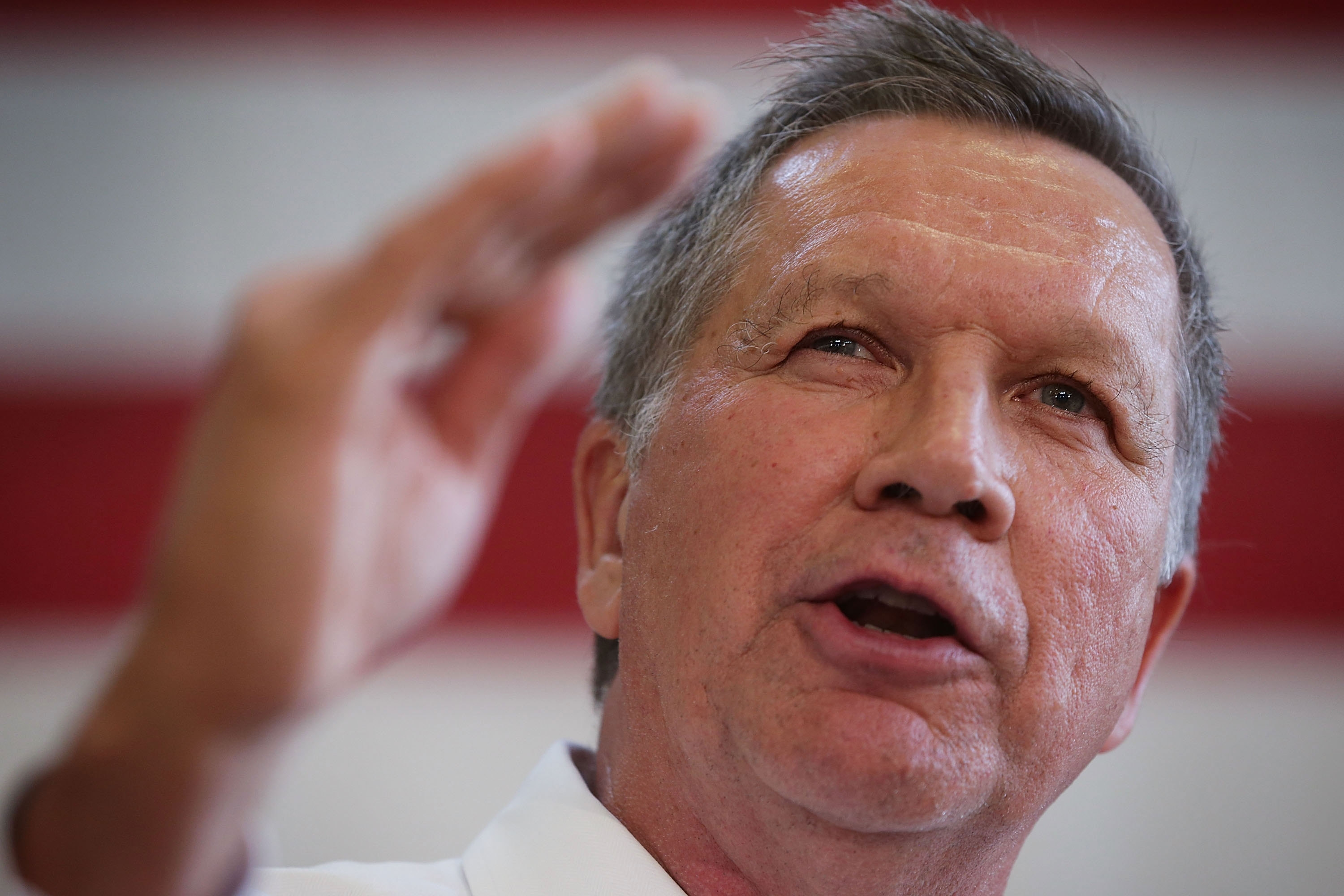 Republican presidential candidate and Ohio Governor John Kasich speaks during a campaign event on April 25, 2016, in Rockville, Md. (Getty Images)