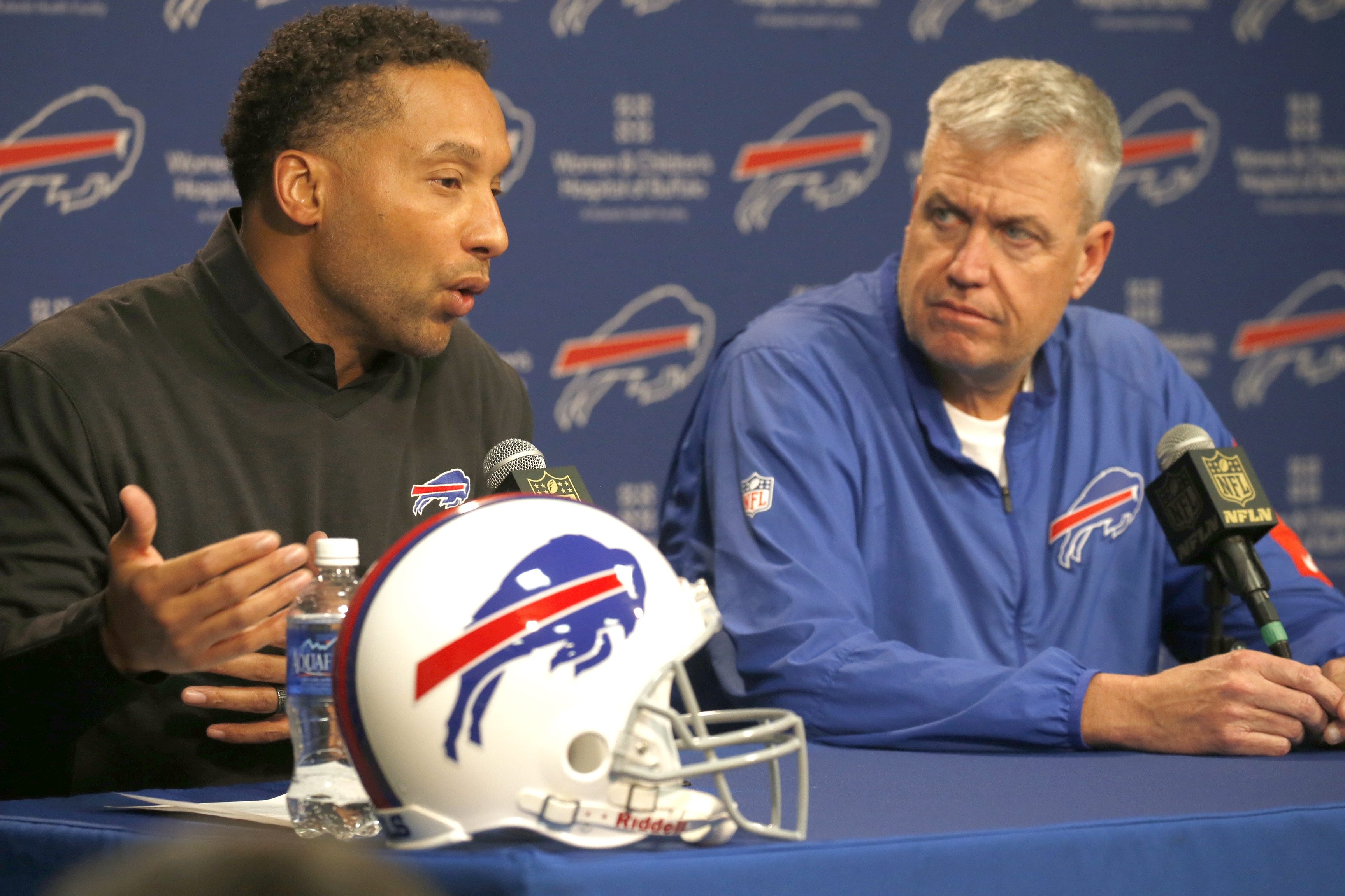 General Manager Doug Whaley, left, raised some eyebrows with his comment about the risk of playing football and coach Rex Ryan wants no share of the blame for the new media policy. (Robert Kirkham/Buffalo News file photo)