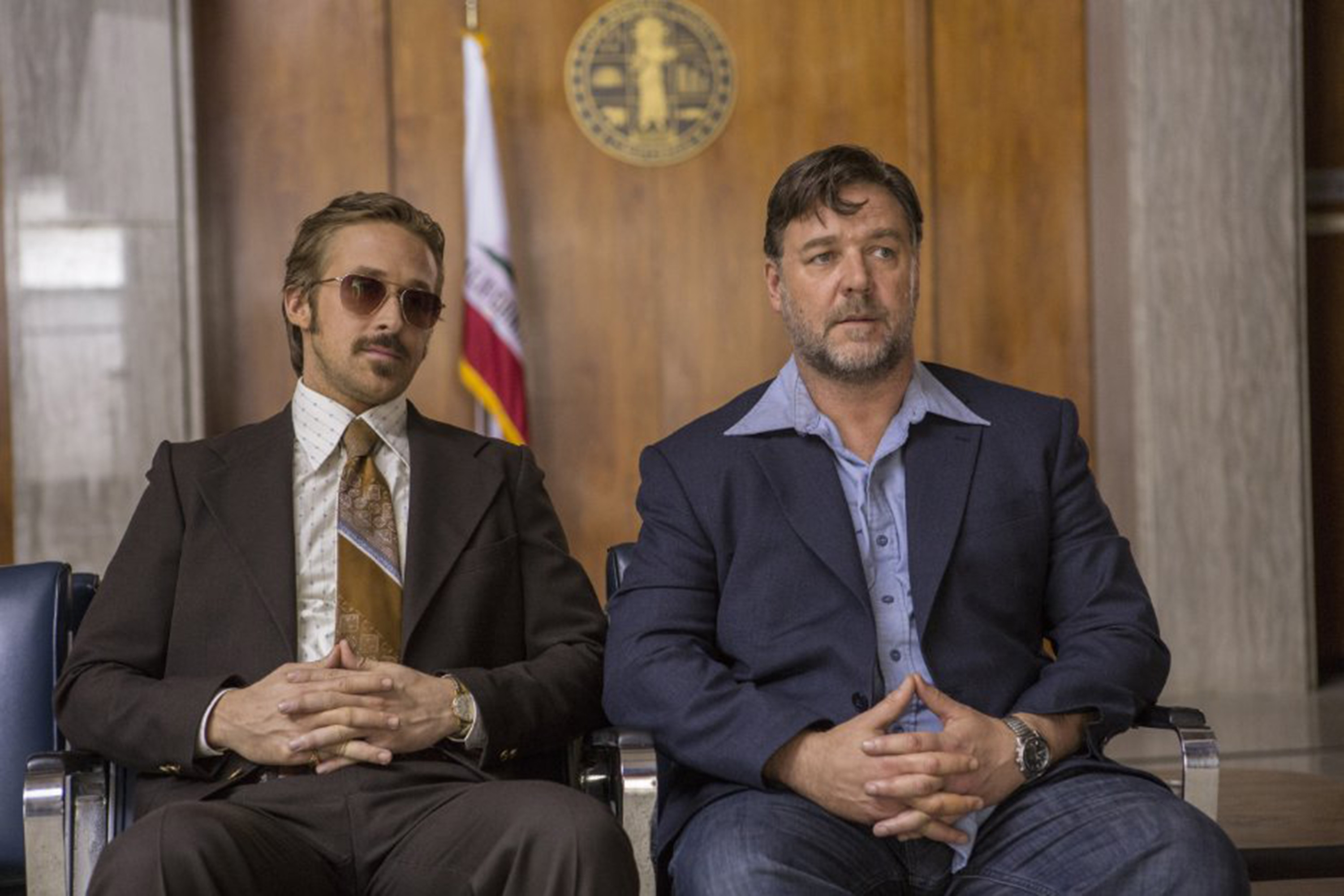 """Ryan Gosling, left, and Russell Crowe in """"The Nice Guys."""""""