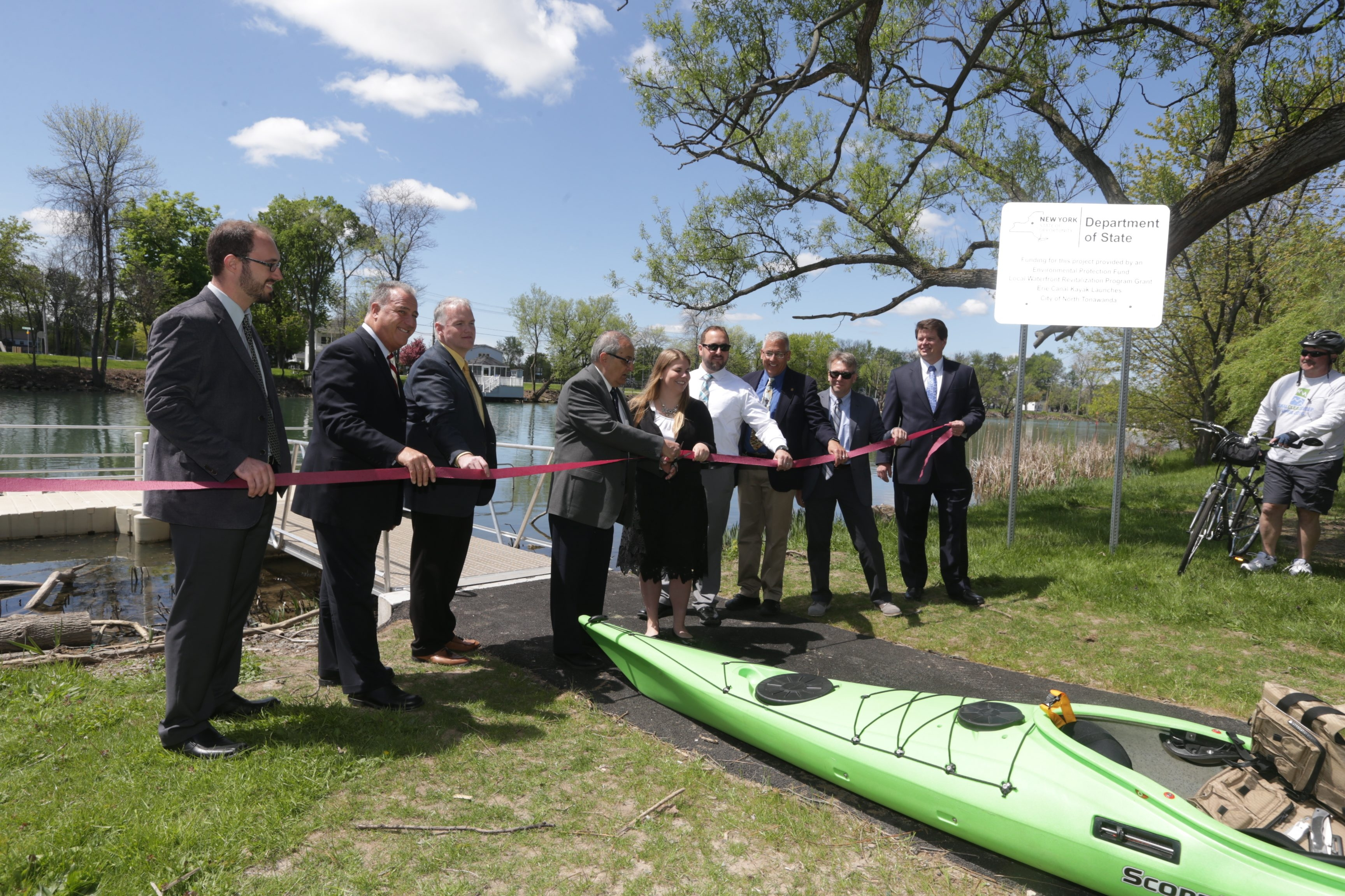 Arthur G. Pappas, Mayor of North Tonawanda and other dignitaries cut a ribbon and opened a new   Bike Path and Kayak Launch at the foot of Niagara at Sweeney Street, in North Tonawanda, N.Y., on Wednesday May 18, 2016.   (John Hickey/Buffalo News)