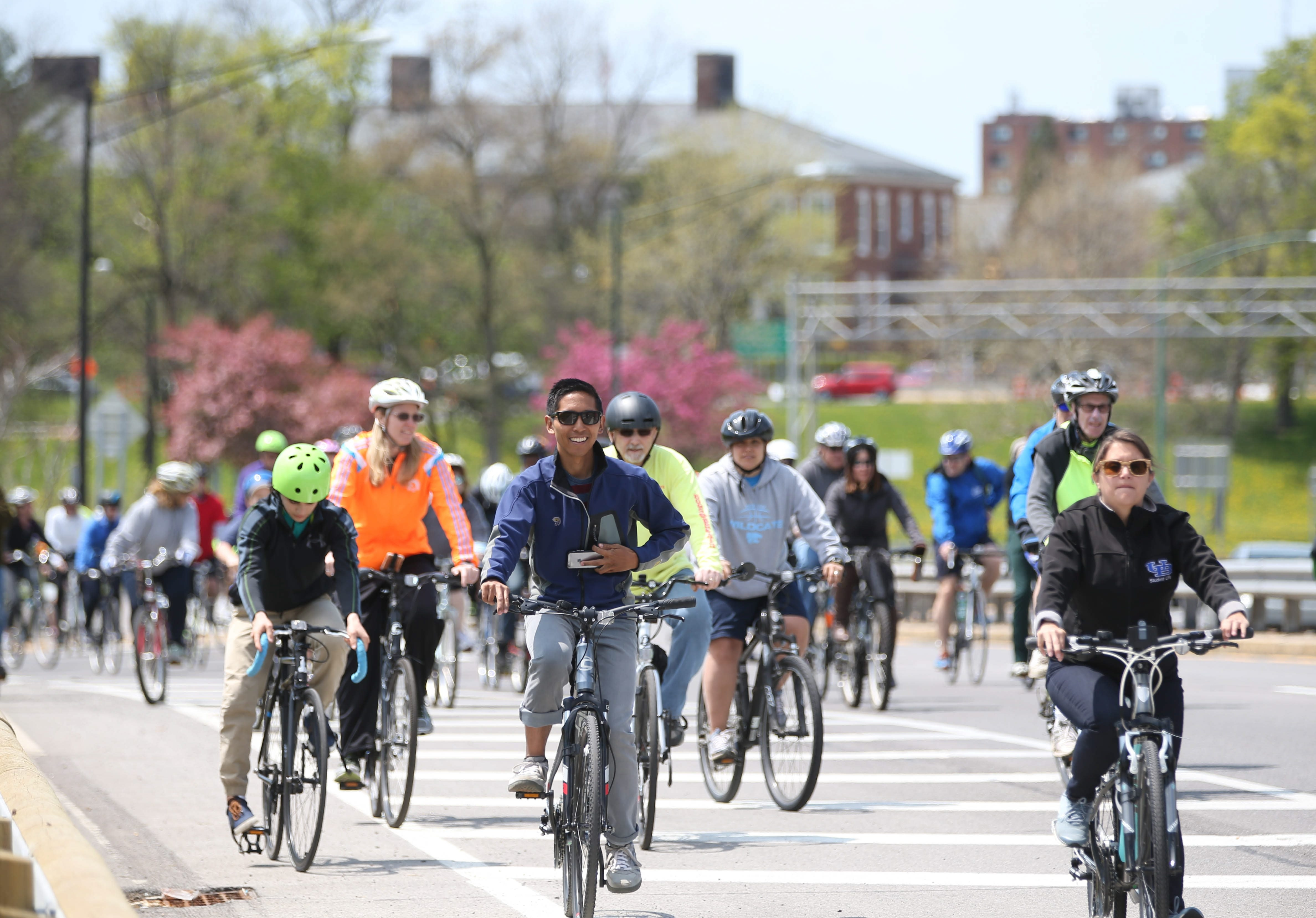 Bicyclists on the first Slow Roll Buffalo ride of 2016 rode on the Scajaquada Expressway to make a statement about downgrading the expressway to a bicycle and pedestrian-friendly boulevard.  (Sharon Cantillon/Buffalo News)