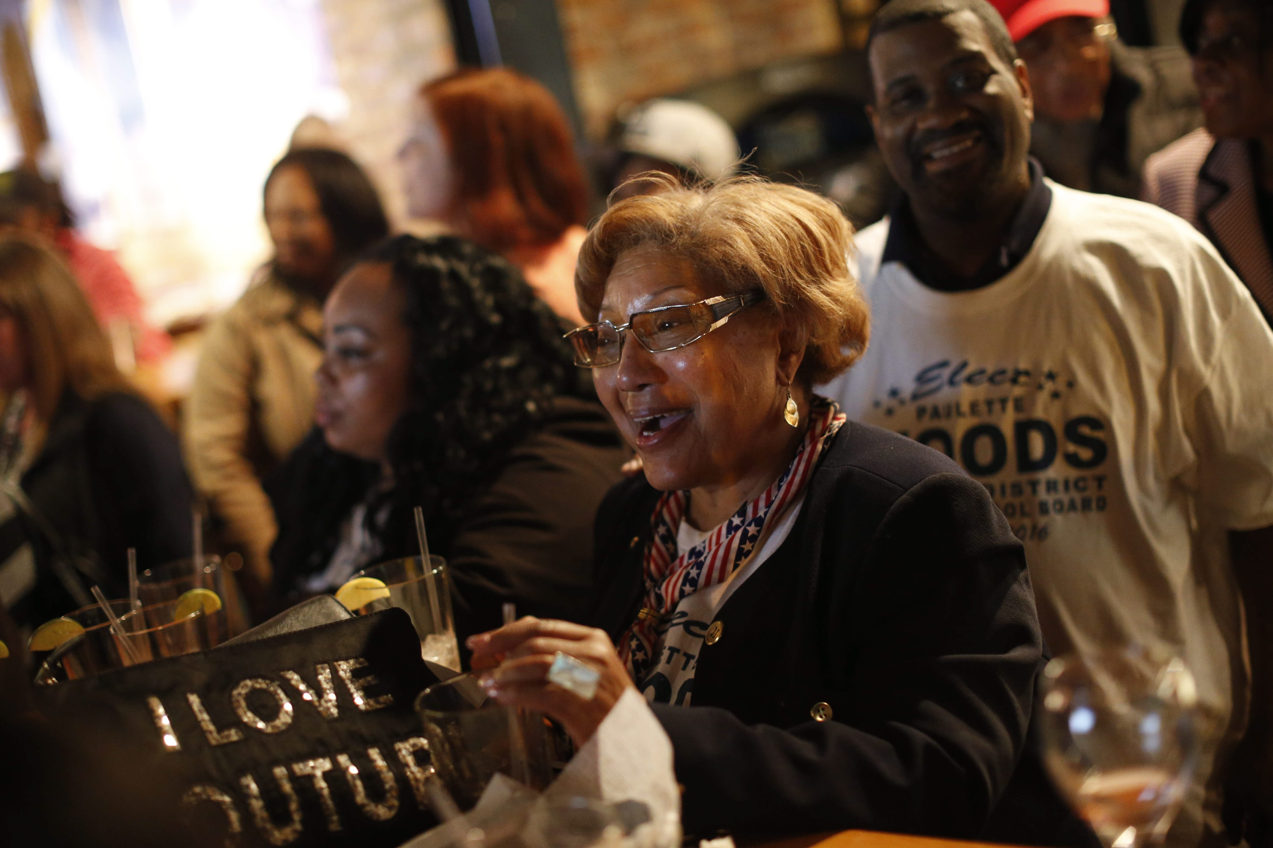 Paulette Woods celebrates her election to the Buffalo School Board during a celebration hosted by the Buffalo Teachers Federation at Pearl Street Grill, Tuesday, May 3, 2016.  (Derek Gee/Buffalo News)