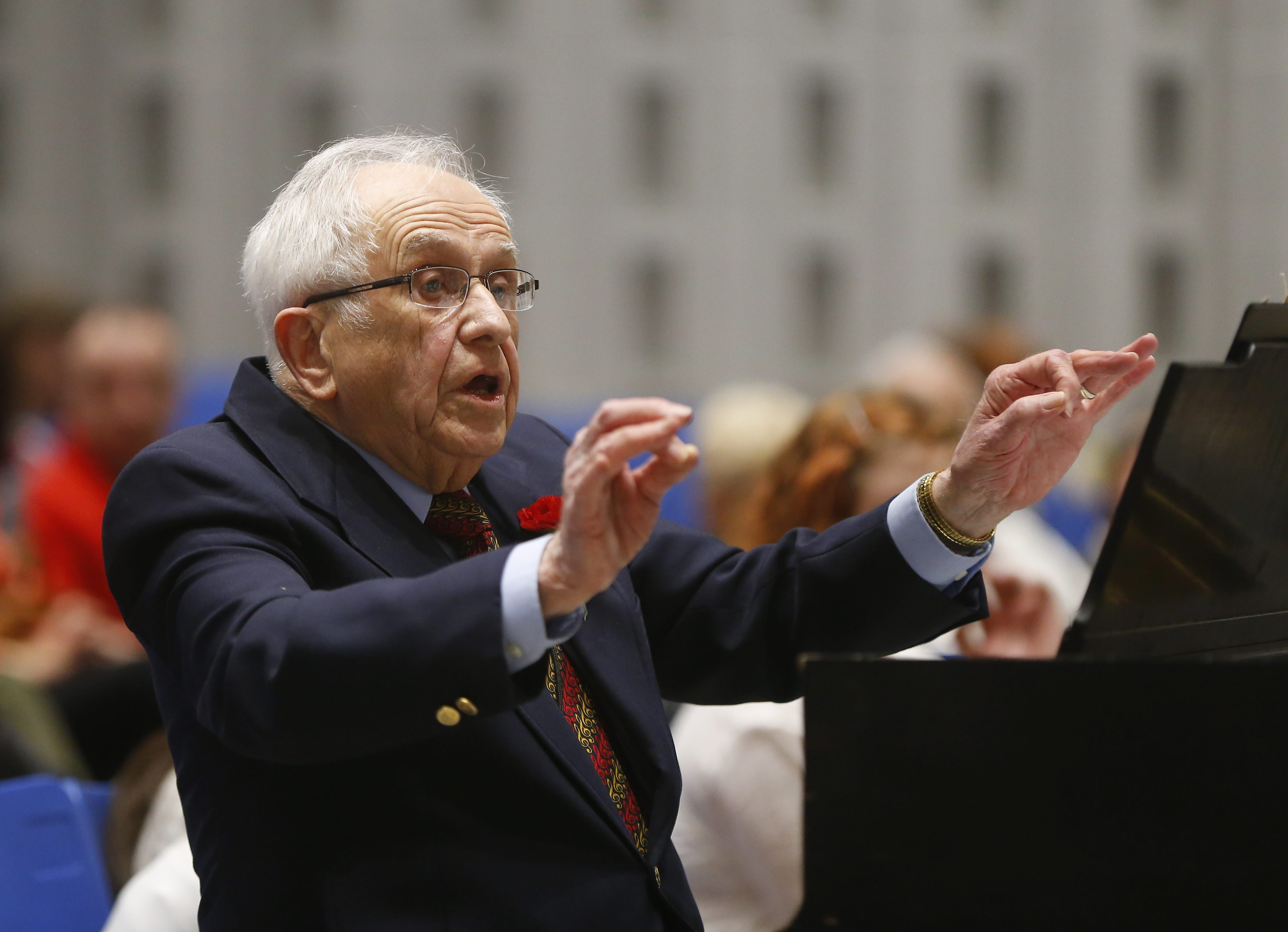 Heim Middle School music teacher Dr. Roy W. Clare conducts his 7/8 grade chorus on his final performance capping his 57 year teaching career at the school's Spring Concert in Amherst Wednesday, May 4, 2016.   (Mark Mulville/Buffalo News)