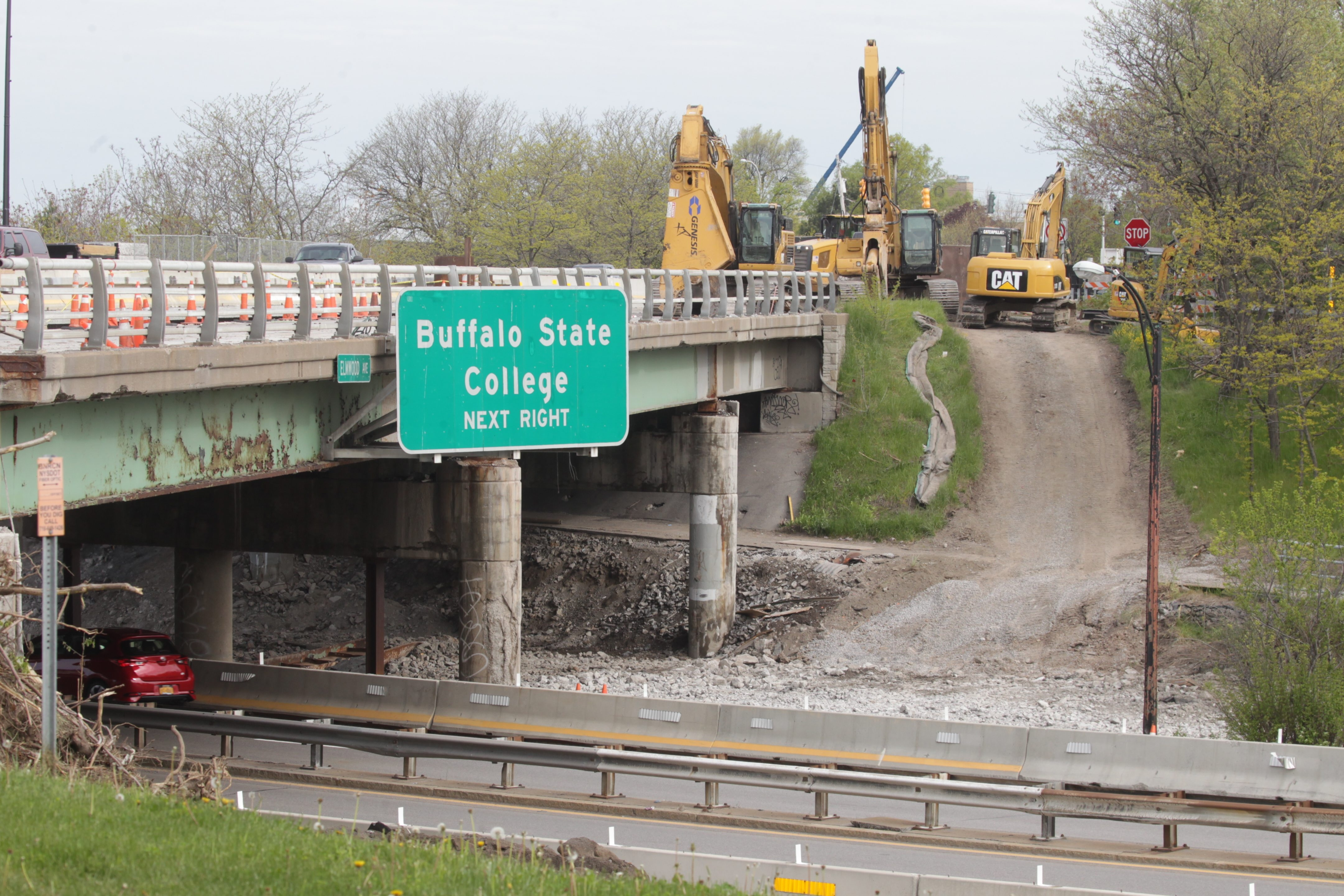 Work on the Elmwood Avenue bridge has slowed traffic where it crosses the Scajaquada Expressway, Route 198.