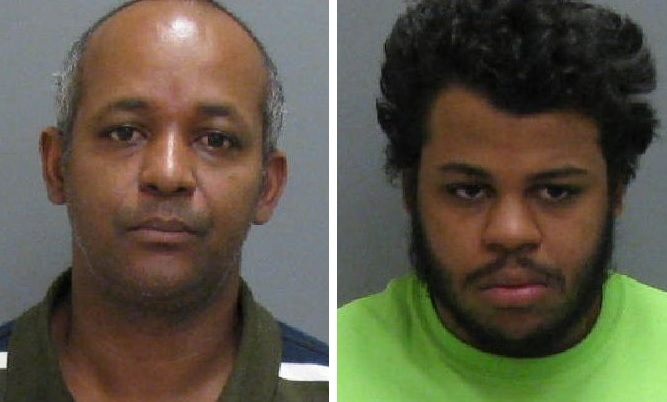 Angel L. Cintron-Fernandez, left, 41, and Luis A. Cintron, 20, were arrested on drug possession charges in a Cherry Street apartment on Thursday. (Jamestown Police)