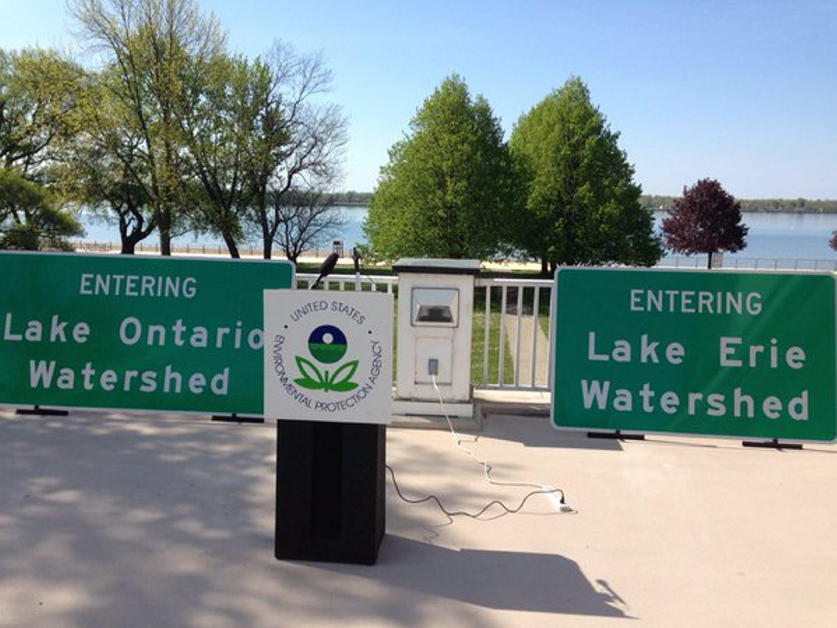 Great Lakes watershed signs are intended to remind people they can all play a role in cutting pollution of the lakes. (T.J. Pignataro/Buffalo News)