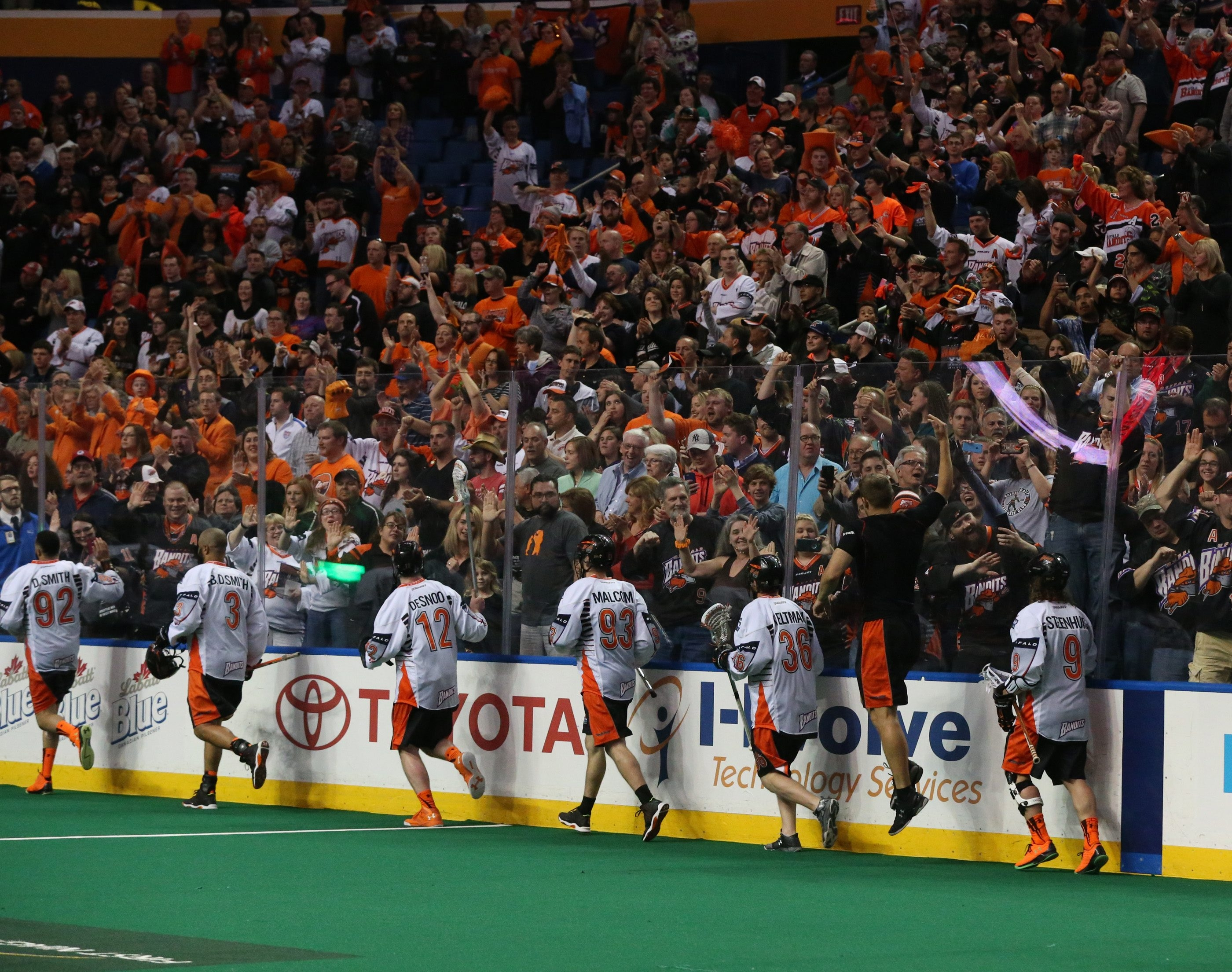 The Bandits celebrate after winning the NLL East.