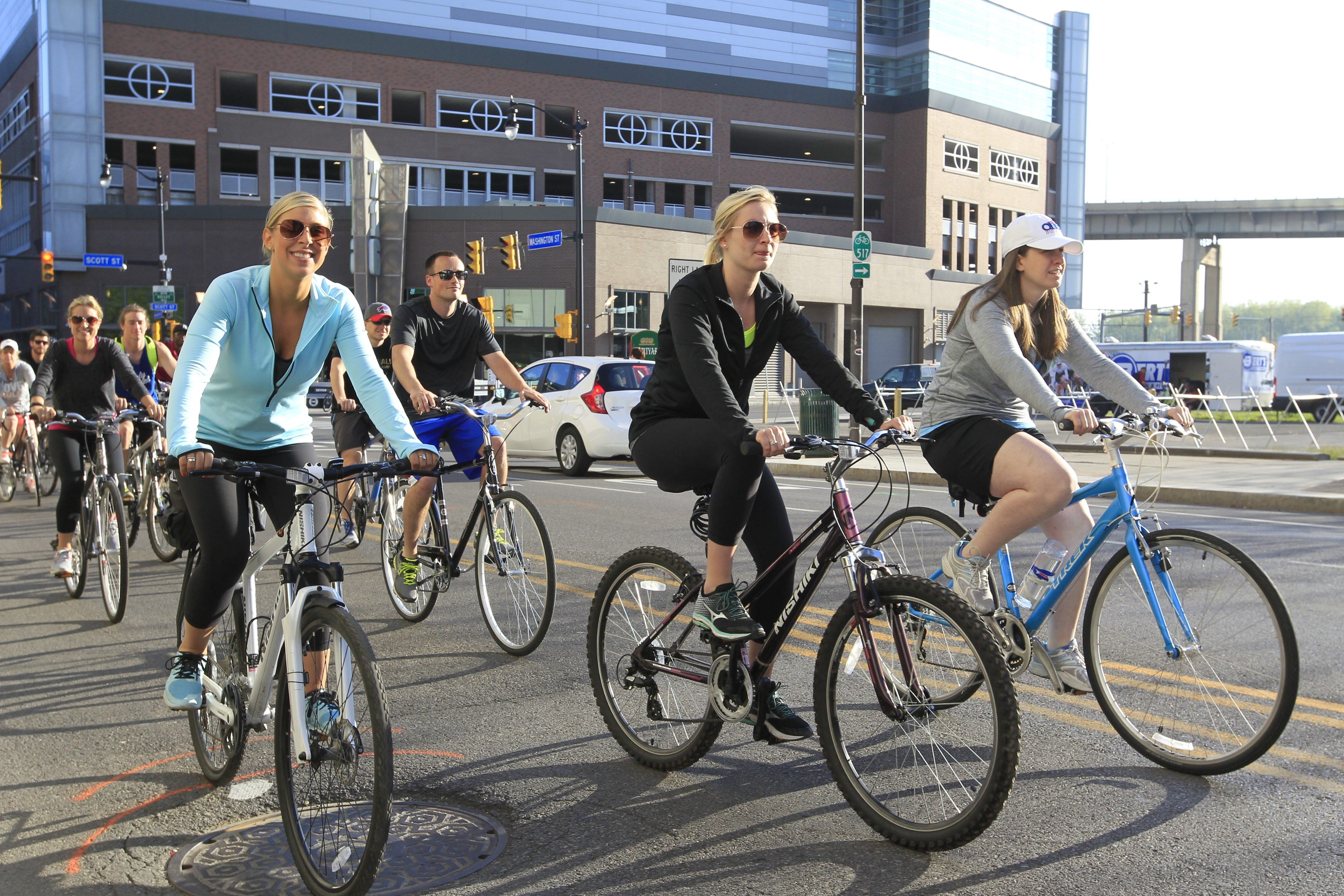 Slow Roll riders filled Scott Street on Monday before turning onto Washington Street to begin the weekly ride.