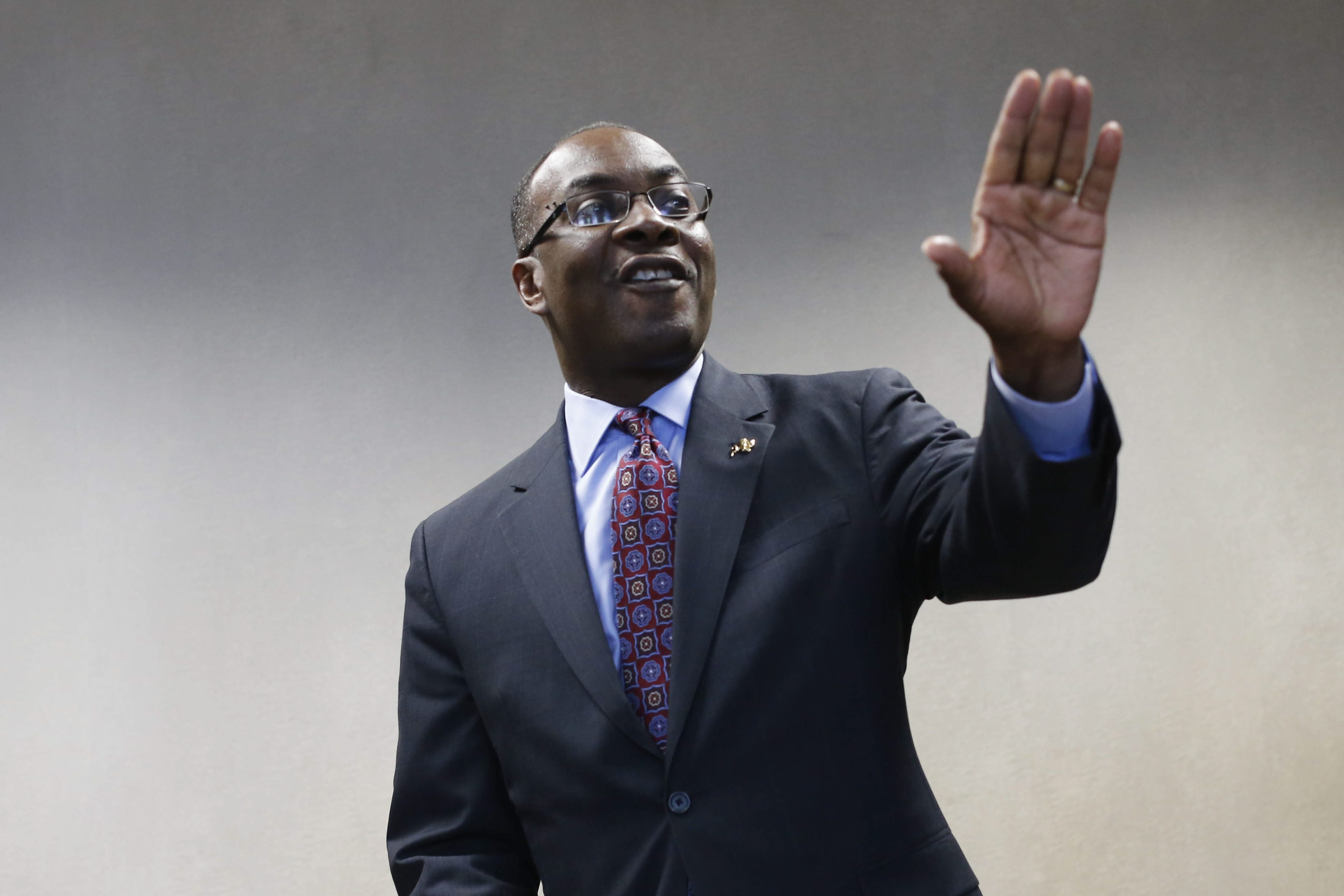 Buffalo Mayor Byron Brown waves as he arrives at a ceremony commemorating Yom Hashoah, or Holocaust Memorial Day, in the Rath County Office Building, Monday, April 25, 2016.  (Derek Gee/Buffalo News)