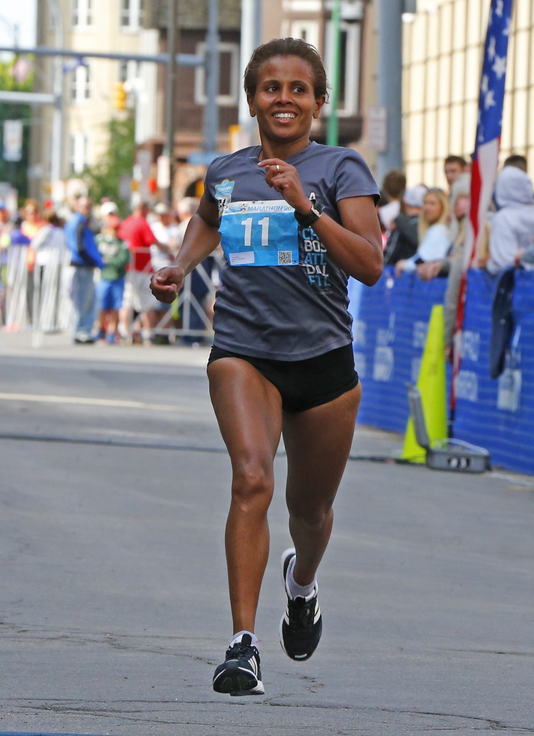 Ethiopian Hirut Guangul from NYC is returning to defend her title in the Buffalo Marathon.(Harry Scull Jr./Buffalo News)