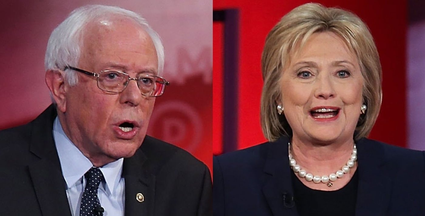 DURHAM, NH - FEBRUARY 04:  Democratic presidential candidates former Secretary of State Hillary Clinton and U.S. Sen. Bernie Sanders (I-VT) during their MSNBC Democratic Candidates Debate at the University of New Hampshire on February 4, 2016 in Durham, New Hampshire. This is the final debate for the Democratic candidates before the New Hampshire primaries.  (Photo by Justin Sullivan/Getty Images)
