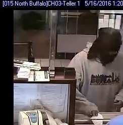 """A First Niagara branch bank in the 2100 block of Elmwood Avenue was robbed shortly before 2 p.m. Monday by a masked man wearing a """"Buffalo"""" sweatshirt, Buffalo Police said. (Buffalo Police)"""