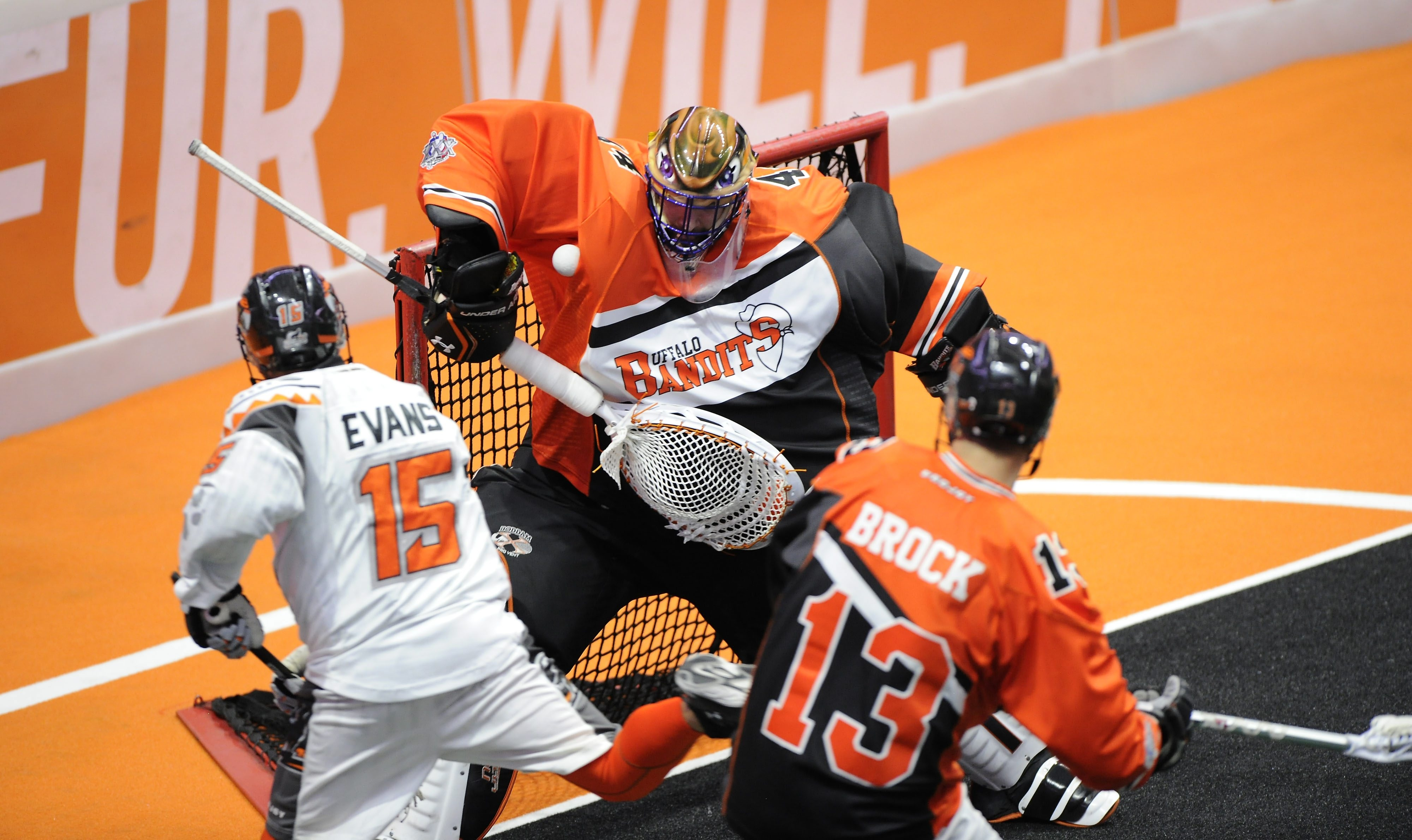 Goaltender Anthony Cosmo and the Bandits kept New England offensive ace Shawn Evans in check in Monday's playoff victory.