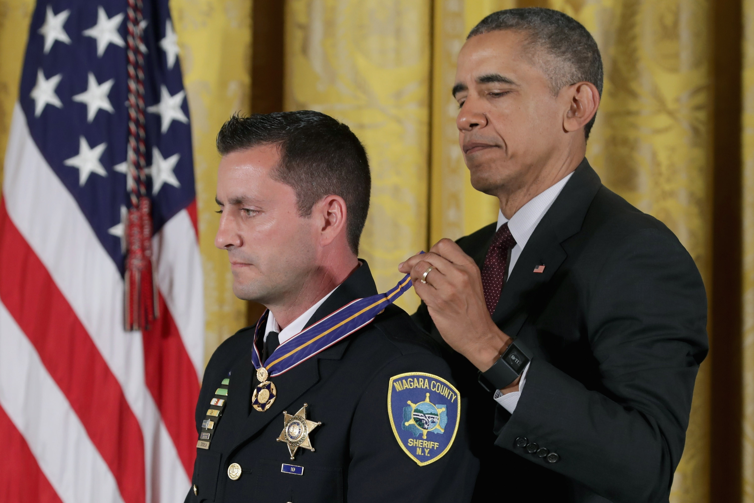 President Obama awards Niagara County Sheriff's Deputy Joseph Tortorella with the 2014-2015 Public Safety Office Medal of Valor during a ceremony in the East Room of the White House on May 16, 2016, in Washington, D.C. (Getty Images)