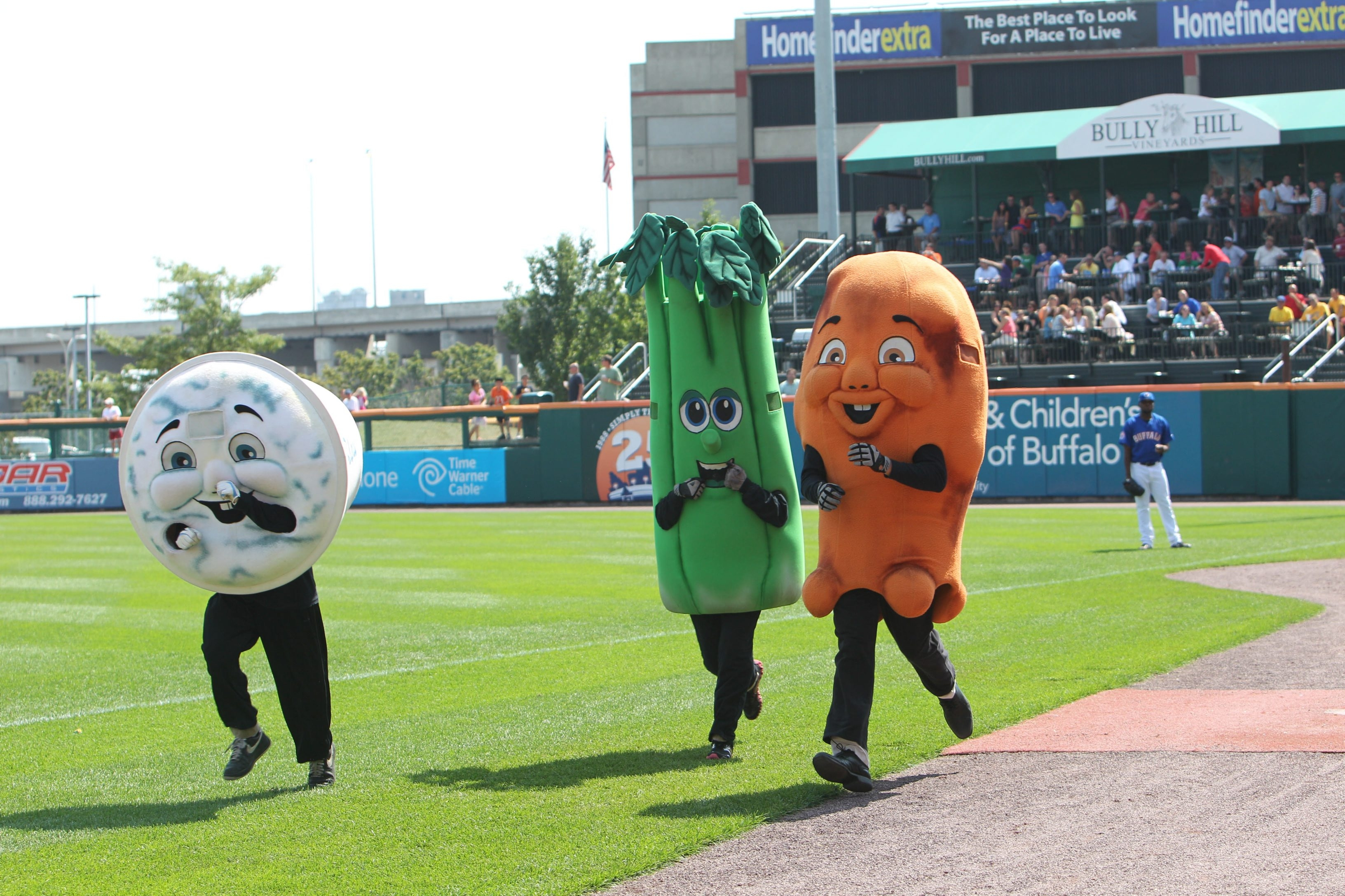 Celery falls behind its rivals in the race at Coca-Cola Field.