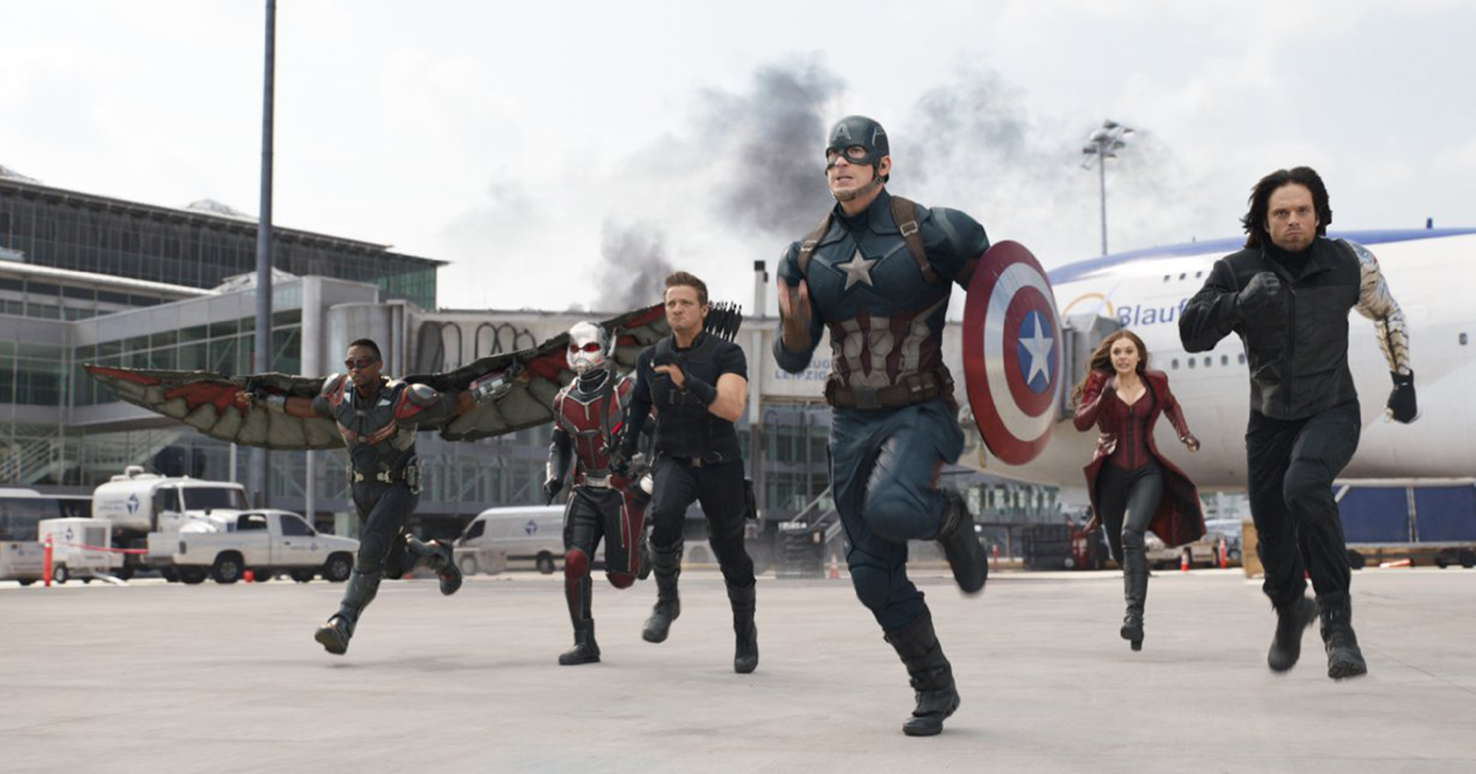 "Chris Evans, Elizabeth Olsen, Jeremy Renner, Paul Rudd, Anthony Mackie and Sebastian Stan star in ""Captain America: Civil War."""