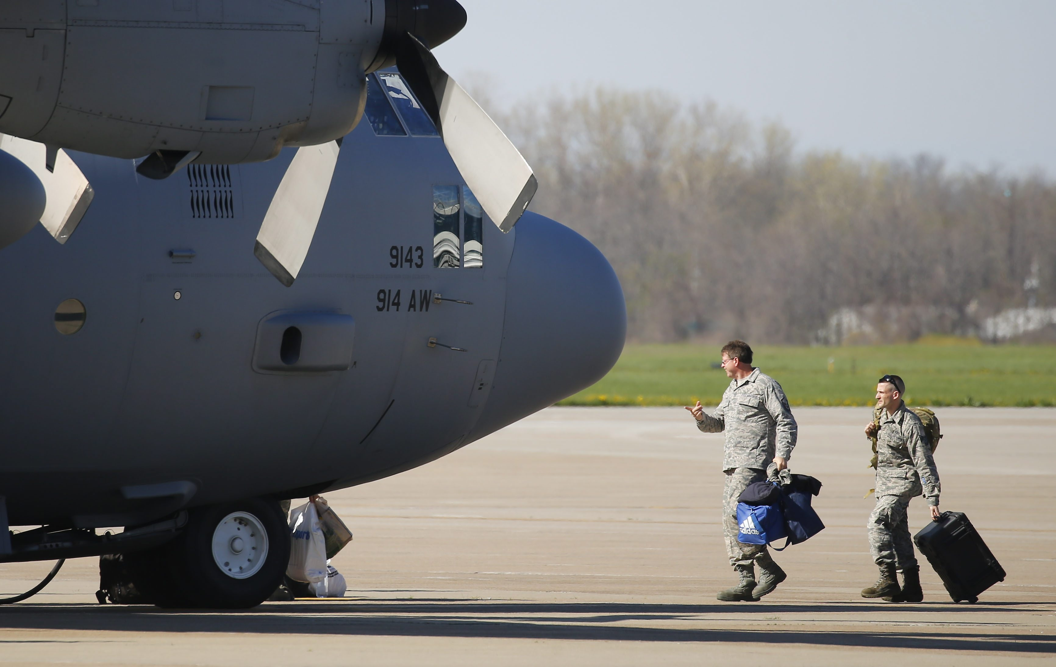 Service members of the 914th Airlift Wing get ready to deploy in support of Operation Inherent Resolve at the Niagara Falls Air Reserve Station Monday, May 9, 2016.   (Mark Mulville/Buffalo News)