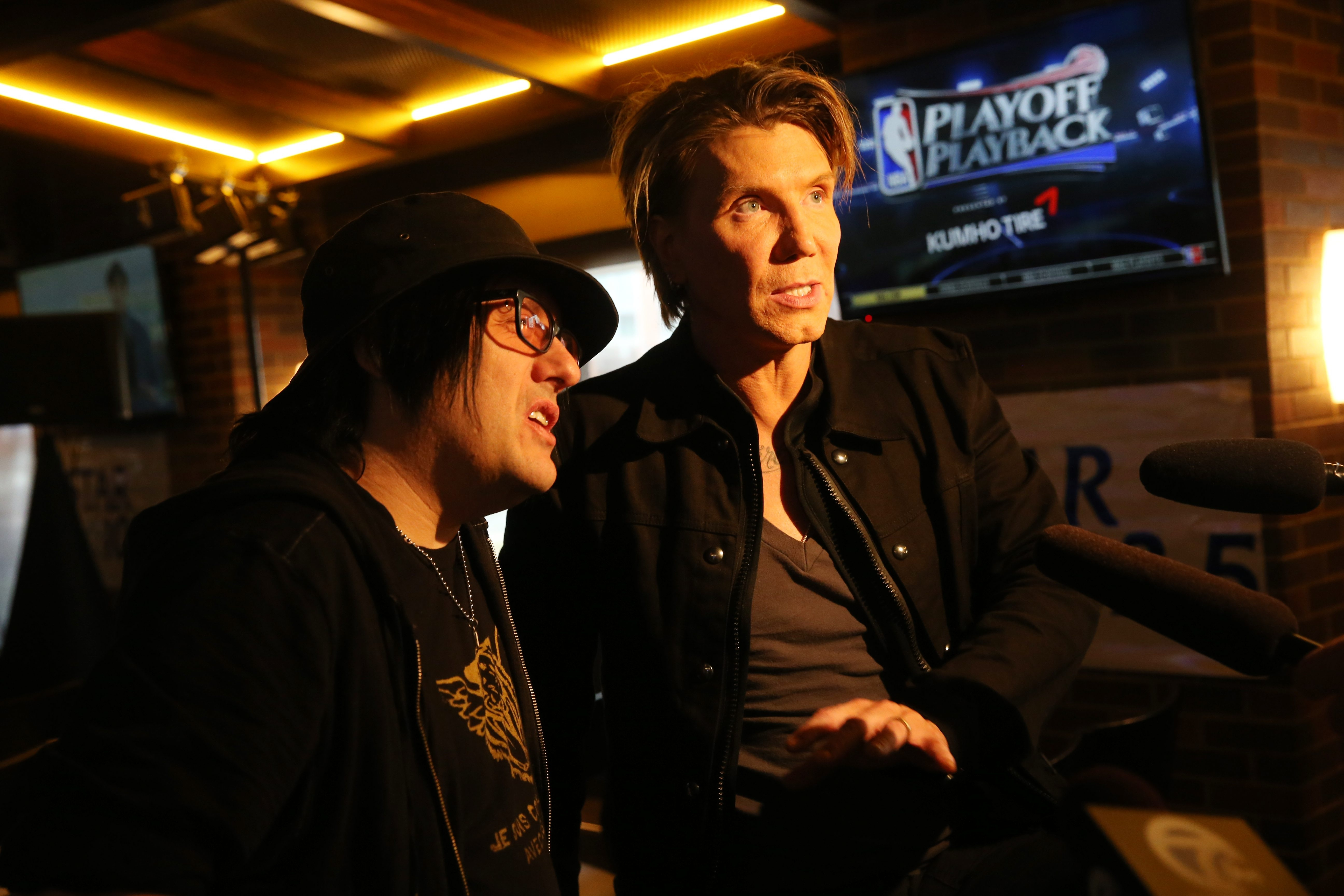 """Sharon Cantillon/Buffalo News   Good Goo Dolls perform a short acoustic show  as part of a record release at 716 Bar, Monday, May 9, 2016.  Before the show, they took time to talk to the media about a video of one the the songs on their new album""""Boxes."""" From left are Robby Tabac and John Rzeznik.  ()"""