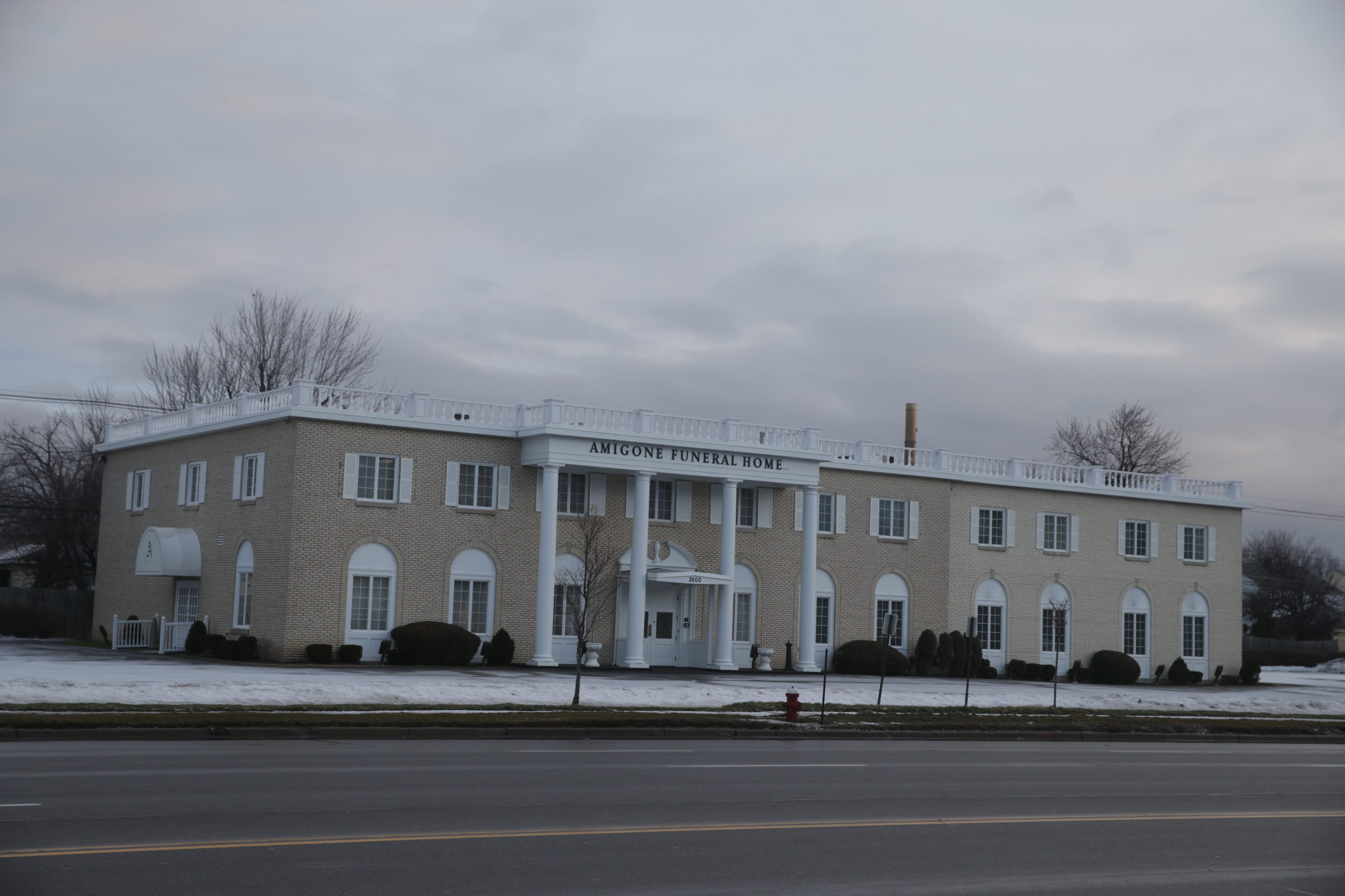 Amigone Funeral Home  on Sheridan Drive , indicated the crematory would resume operations on Friday, more than three years after the system was shut down following neighbor complaints in Town of Tonawanda, N.Y., on  Wednesday,  Jan. 27, 2016.   (John Hickey/Buffalo News)