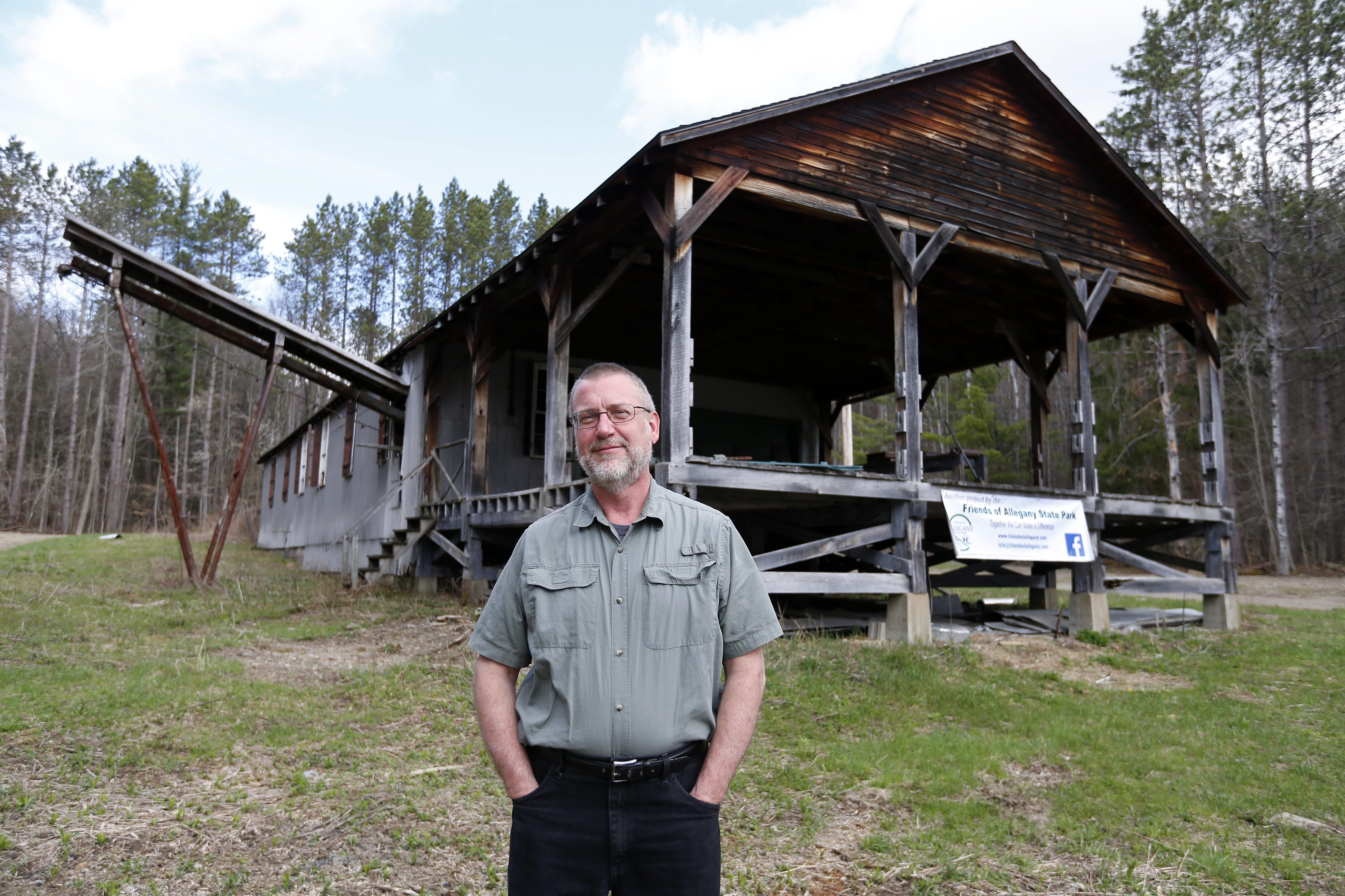 Paul J. Crawford is president of Friends of Allegany State Park, the volunteer organization whose efforts are underway to restore the Red House Sawmill, which the state closed in 1997. On the agenda for work are siding and window replacement, as well as structural repairs.