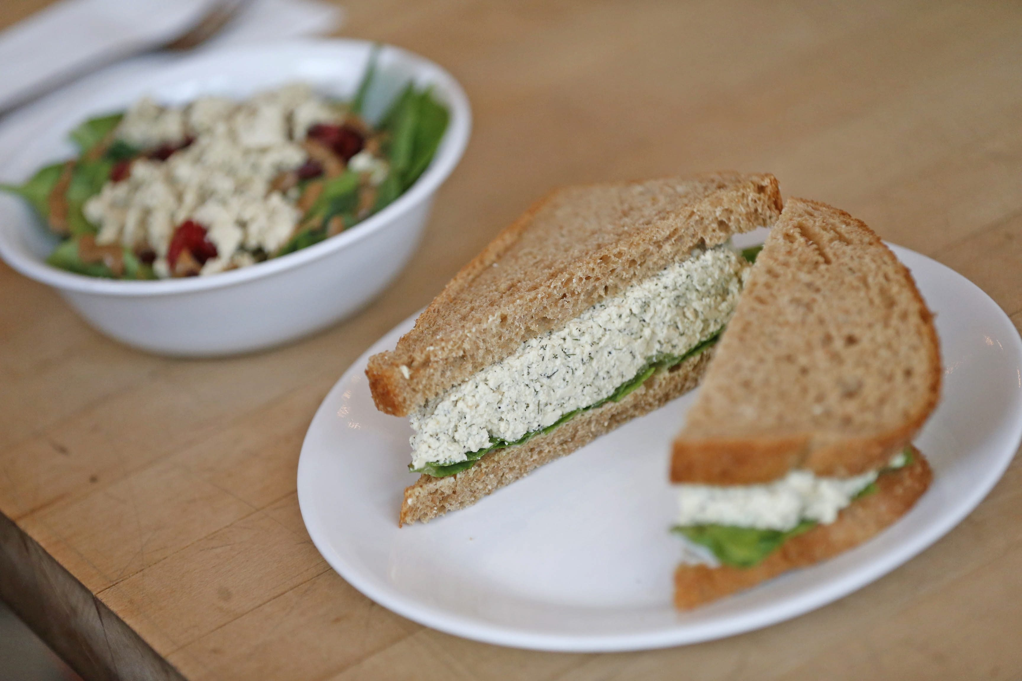 Grindhaus Cafe serves an all-vegetarian menu including Eggless Salad Sandwich and Pepita Power Salad. (Robert Kirkham/Buffalo News)