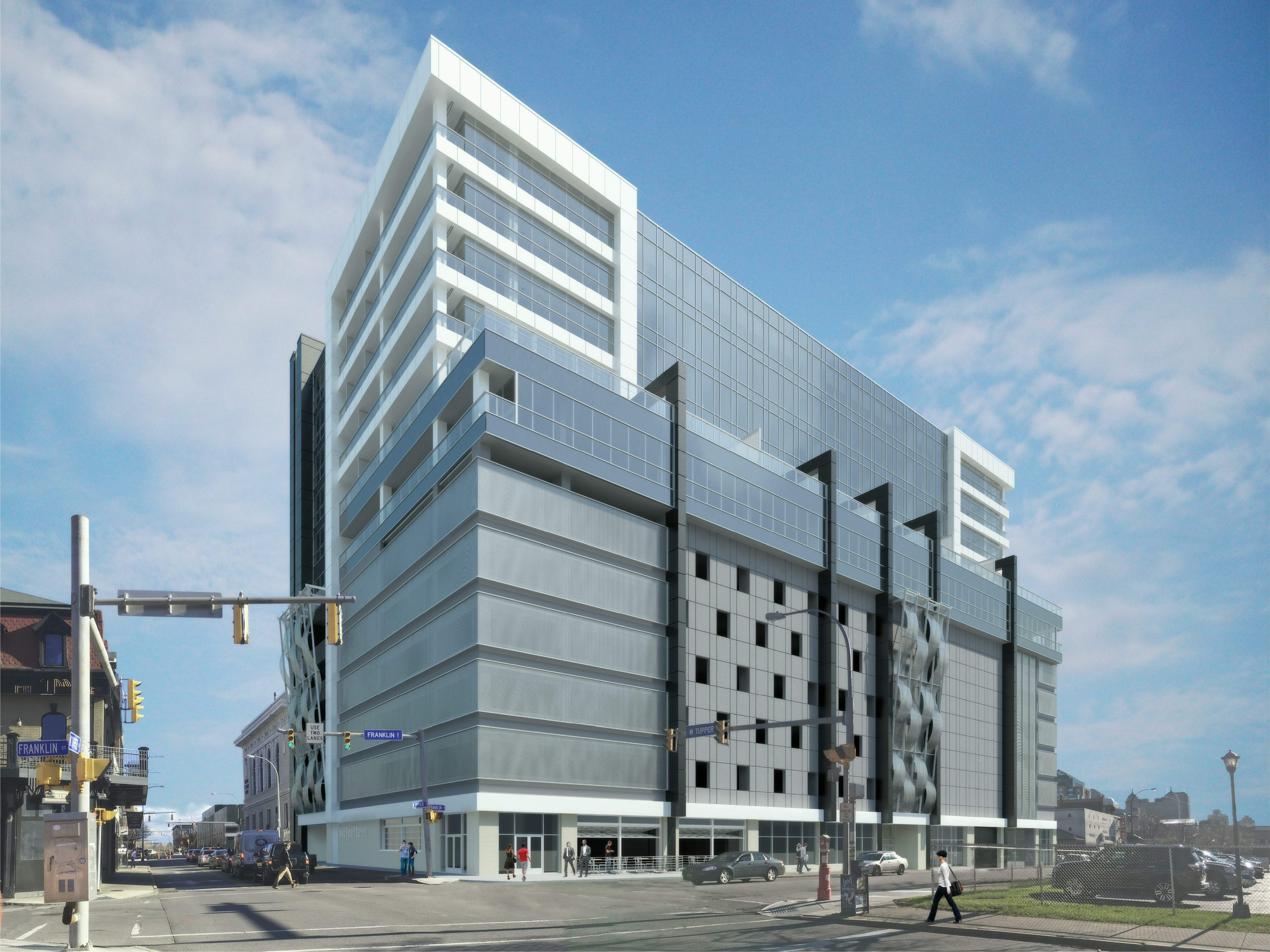 Rendering of the planned hotel/apartment project at the corner of Franklin and Tupper streets in Buffalo.