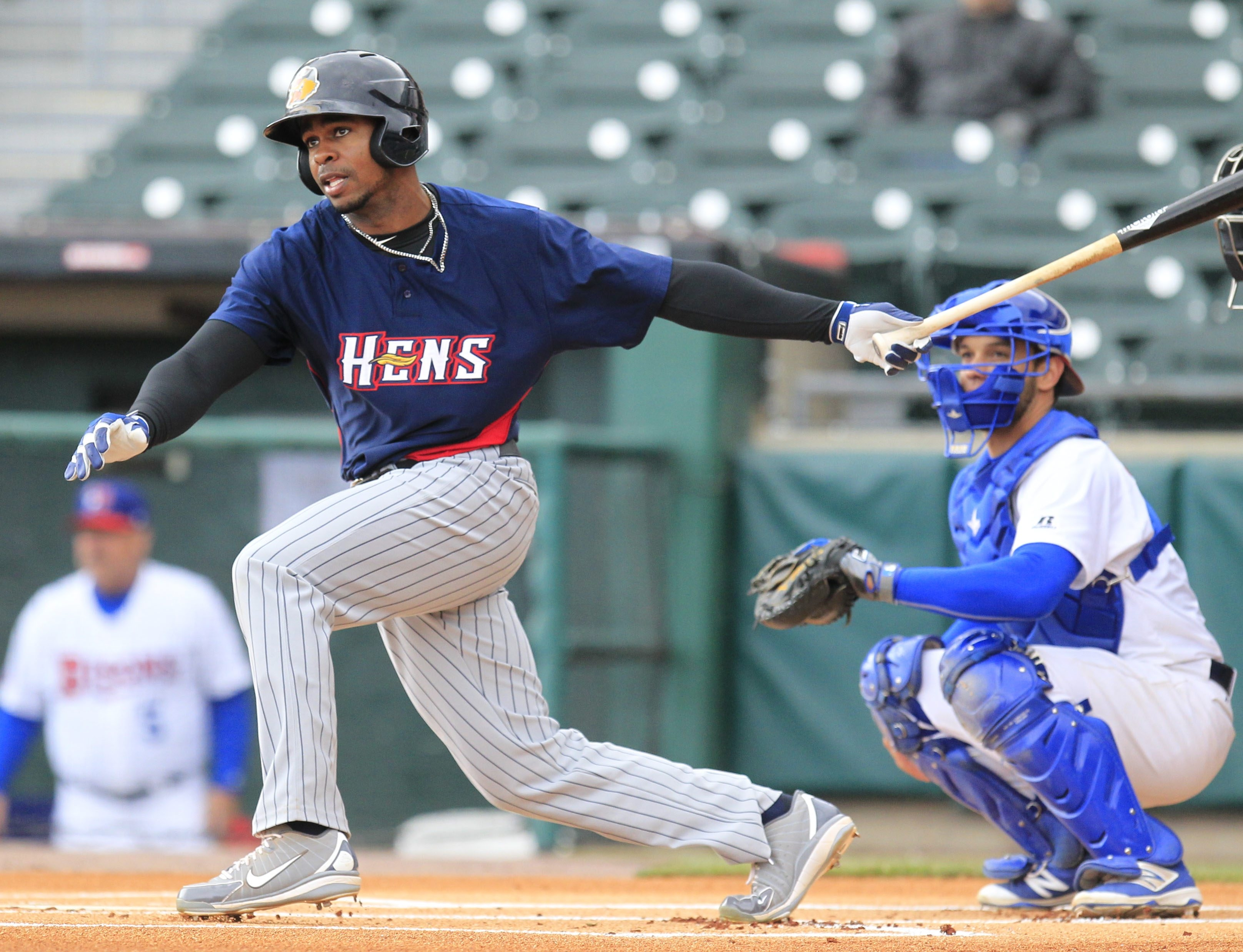 Toledo Mud Hens Wynton Bernard leads the game off hitting a double against the Buffalo Bisons at Coca-Cola field on Monday, May 16, 2016. (Harry Scull Jr./Buffalo News)