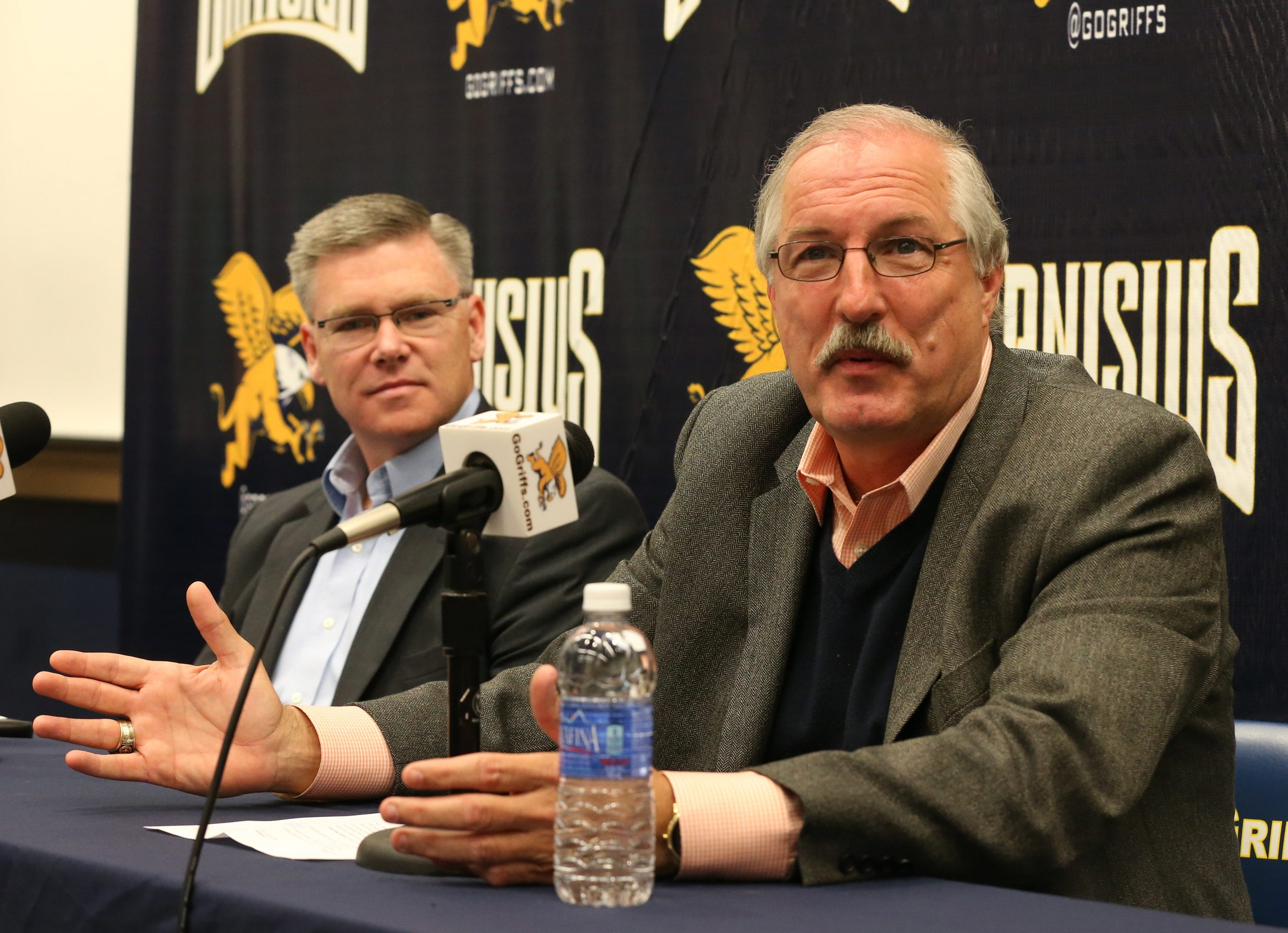 Canisius coach Jim Baron was emotional while discussing his decision to retire at a news conference at Canisius College on Friday. (James P. McCoy/Buffalo News)
