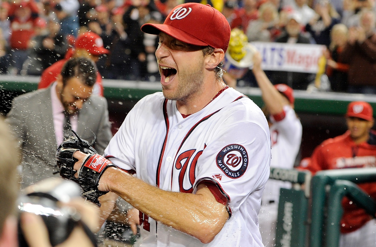 Washington Nationals' Max Scherzer struck out 20 batters, tying the MLB record. (Photo by Greg Fiume/Getty Images)