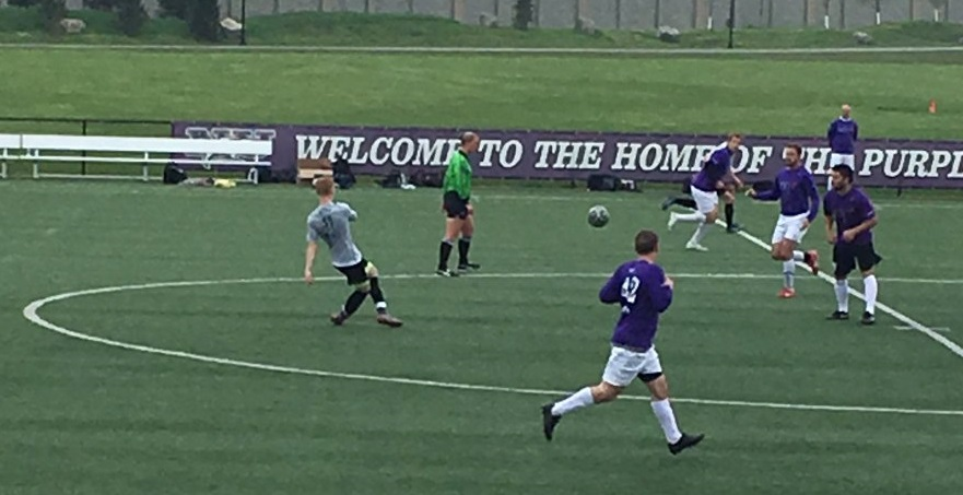 Action between Celtic United, in gray, and SoHo FC in Week 1. (via Sharpshooters Twitter)
