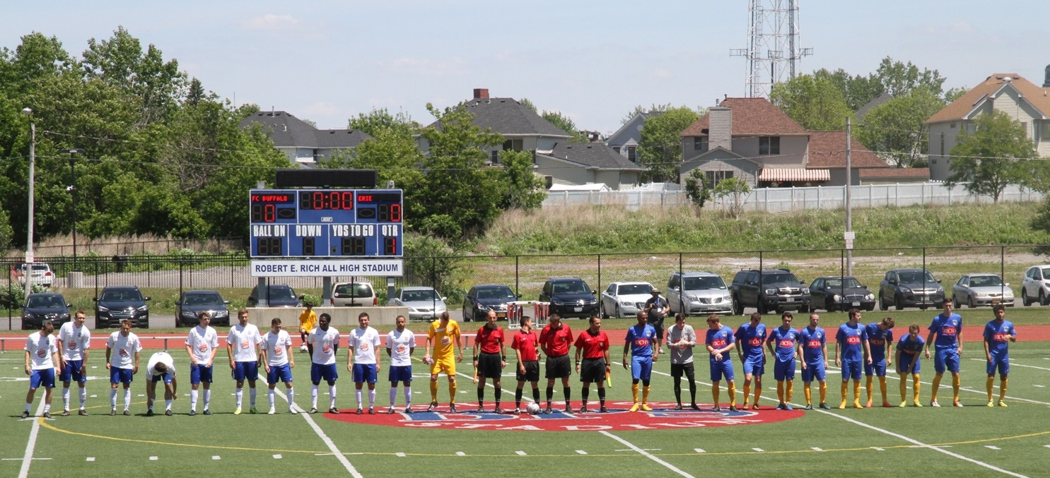 FC Buffalo's lineup is announced against rival Erie on June 7, 2015. (Erica Morano/Special to The News)