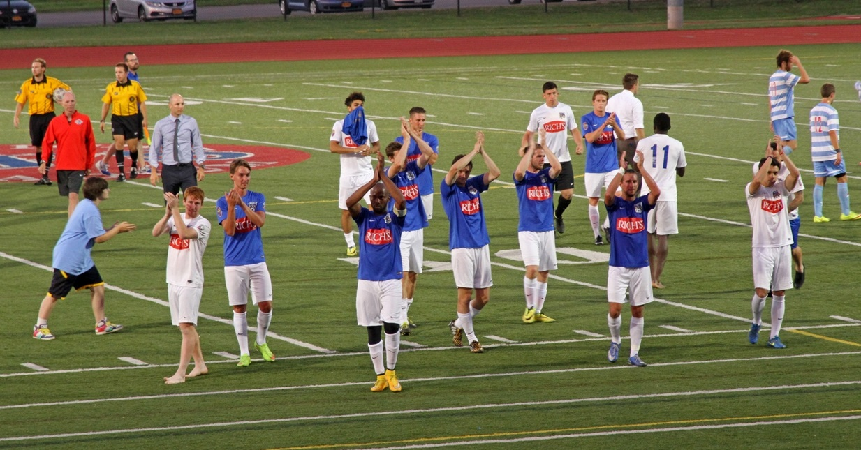 FC Buffalo players applaud their fans after a 2015 home game. (Erica Malinowski/Special to The News)