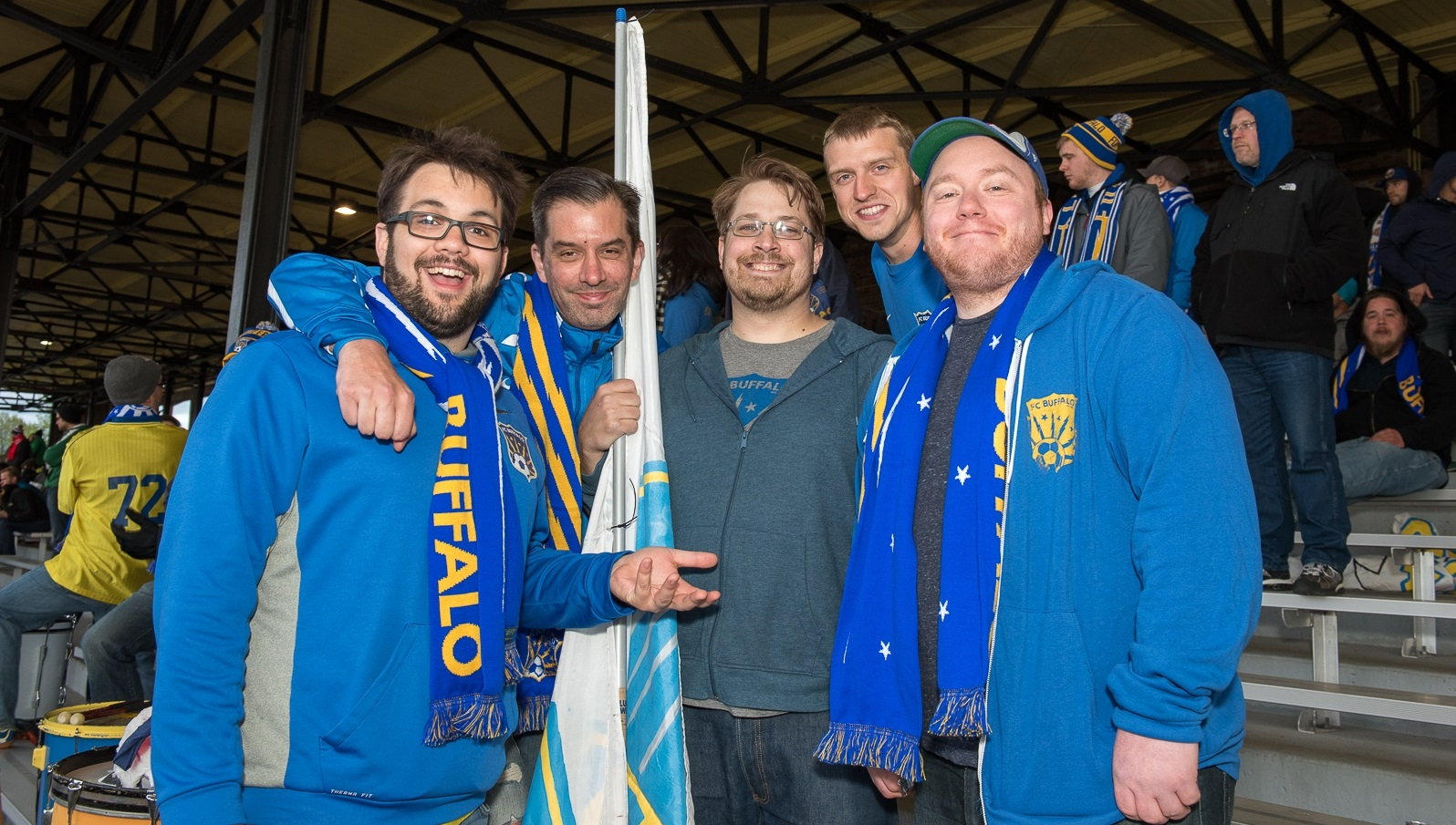 Members of The Situation Room, FC Buffalo's supporters group, pose for the camera. (Matt Weinberg/Special to The News)
