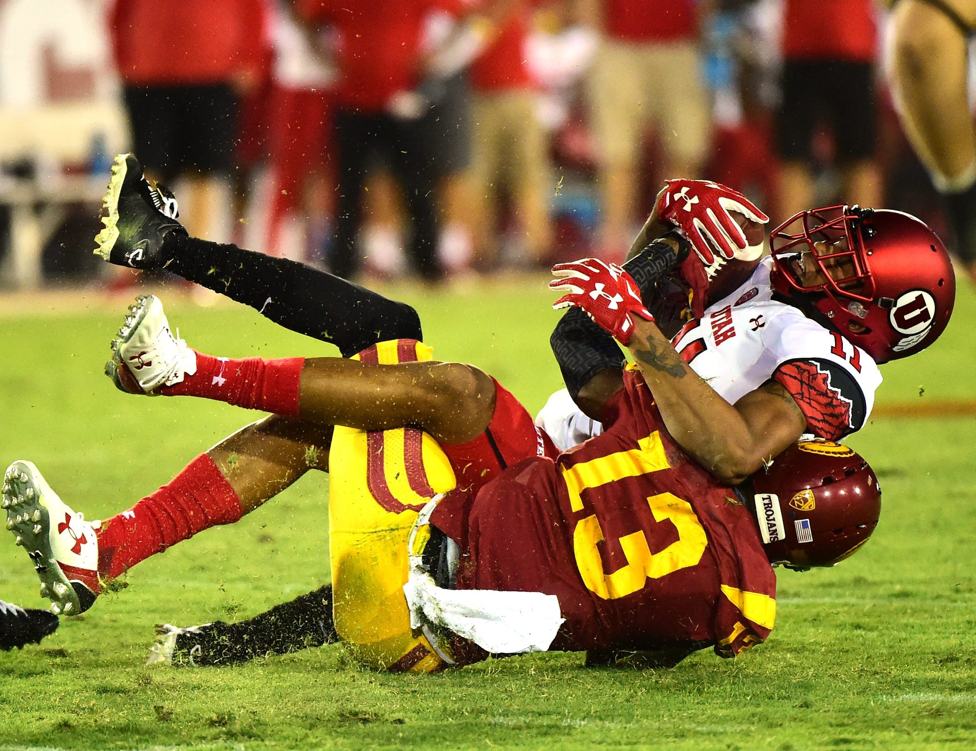 "Kevon Seymour (13) makes a tackle during his USC career. ""It's about not dwelling on the past and having that next-play mentality. When a corner makes a mistake – and it might not even be your fault – it's all on you. So it's about how you react, how you bounce back."" (Getty Images)"