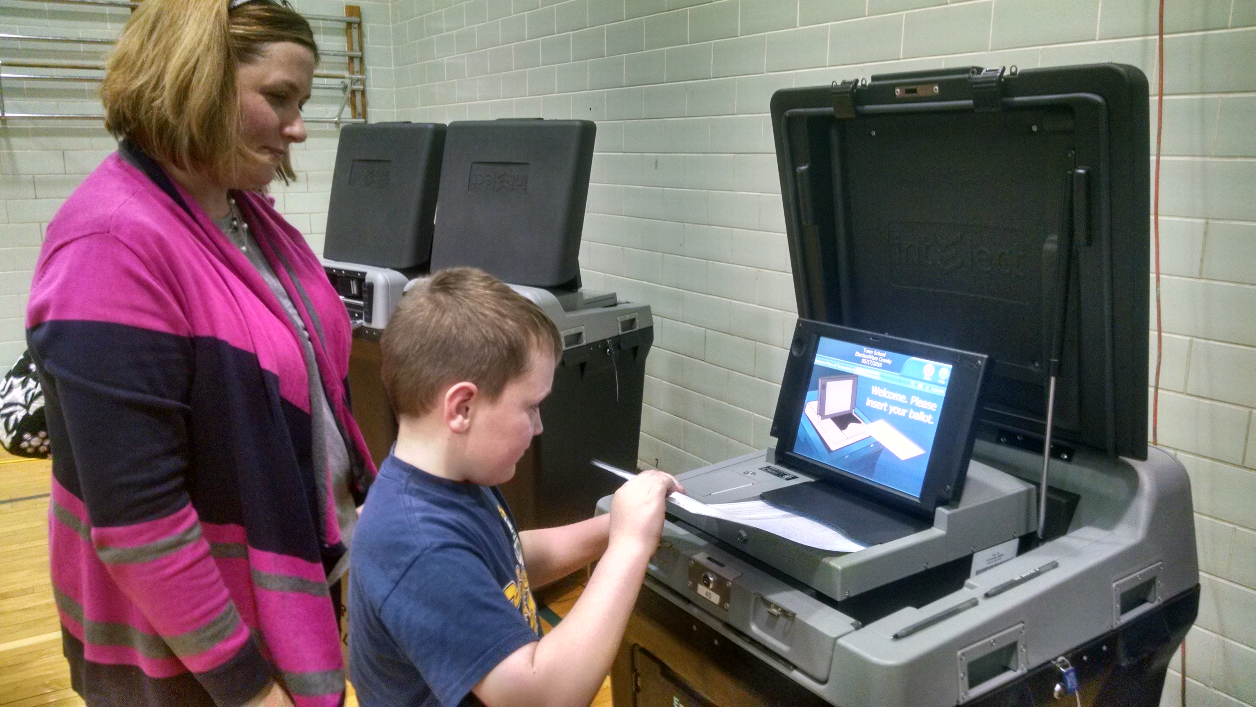 Katie Struckmann, a Ken-Ton teacher, and her son Griffin, 6, cast ballot in Tuesday's budget vote and board election.
