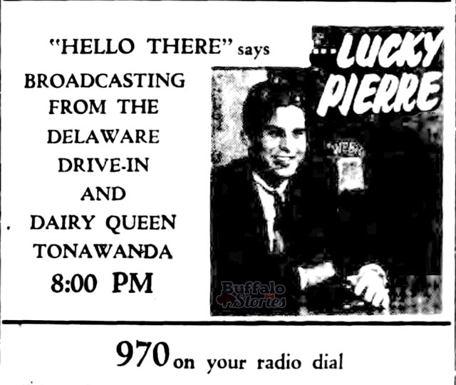Lucky Pierre, broadcasts live from the Delaware Drive-In on WEBR, 1957 (Buffalo Stories archives)