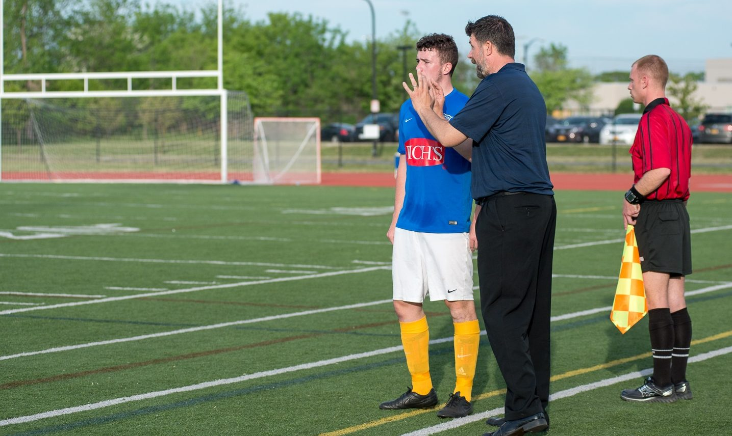 Kieran Toland, still talking, with FC Buffalo head coach Brendan Murphy. (Matt Weinberg/Special to The News)