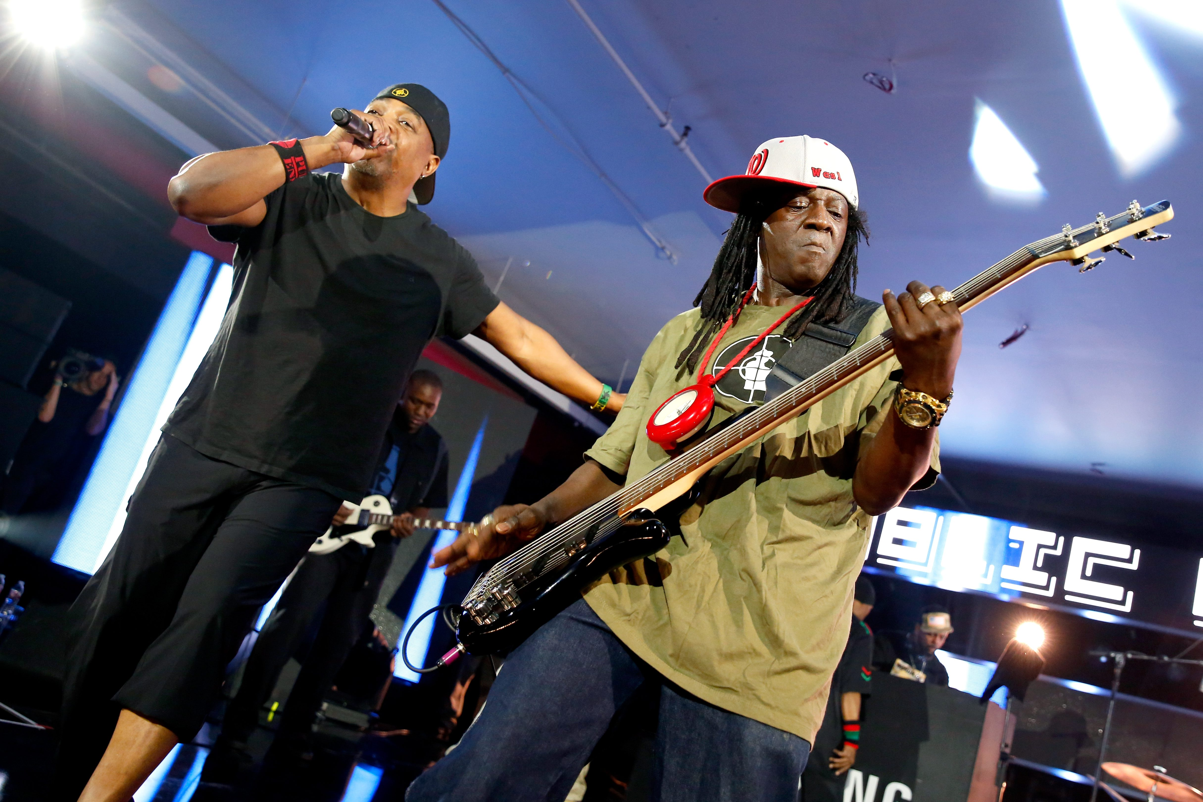 AUSTIN, TX - MARCH 12: Rappers Chuck D (L) and Flavor Flav of Public Enemy perform onstage at Samsung Galaxy Life Fest at SXSW 2016 on March 12, 2016 in Austin, Texas. (Photo by Rick Kern/Getty Images for Samsung)
