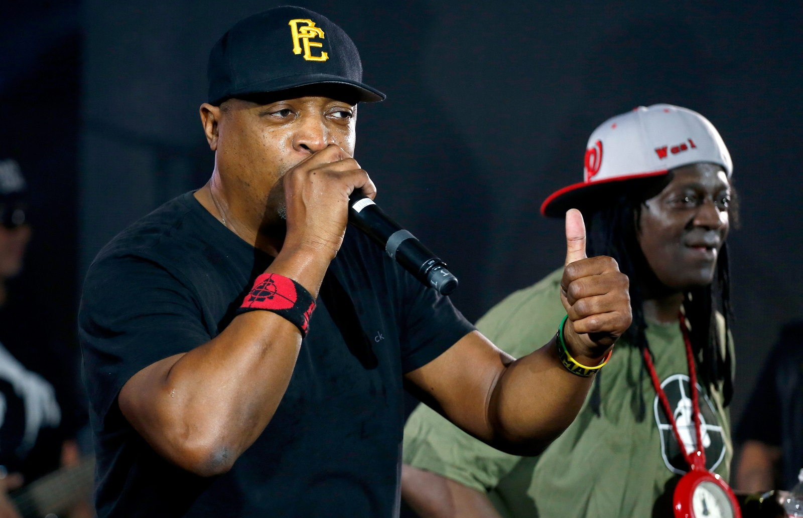 Chuck D, left, and Flava Flav lead Public Enemy to Canalside. (Getty Images)