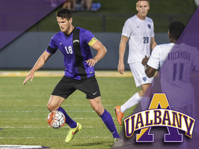 Albany defender Keith Traut should be a fixture on the back line for FC Buffalo. (via Albany Athletics)