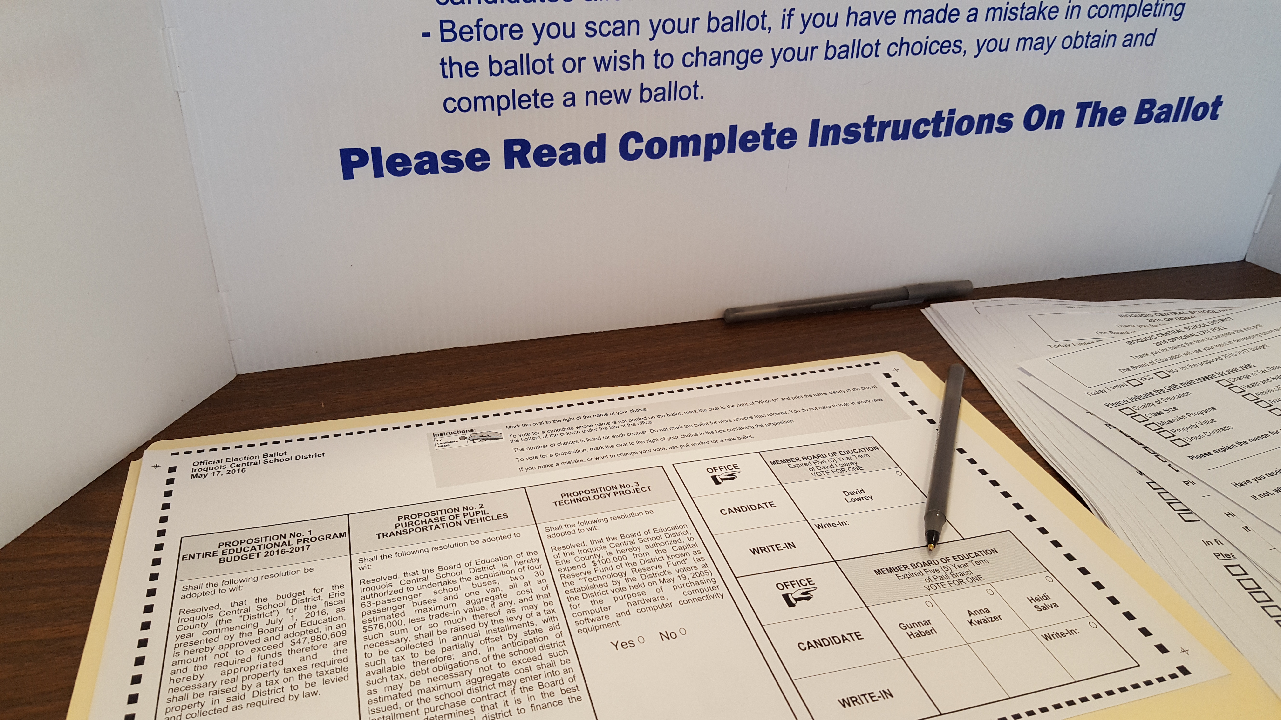 A ballot for Tuesday's vote at Iroquois schools. (Sara Meehan/Buffalo News)