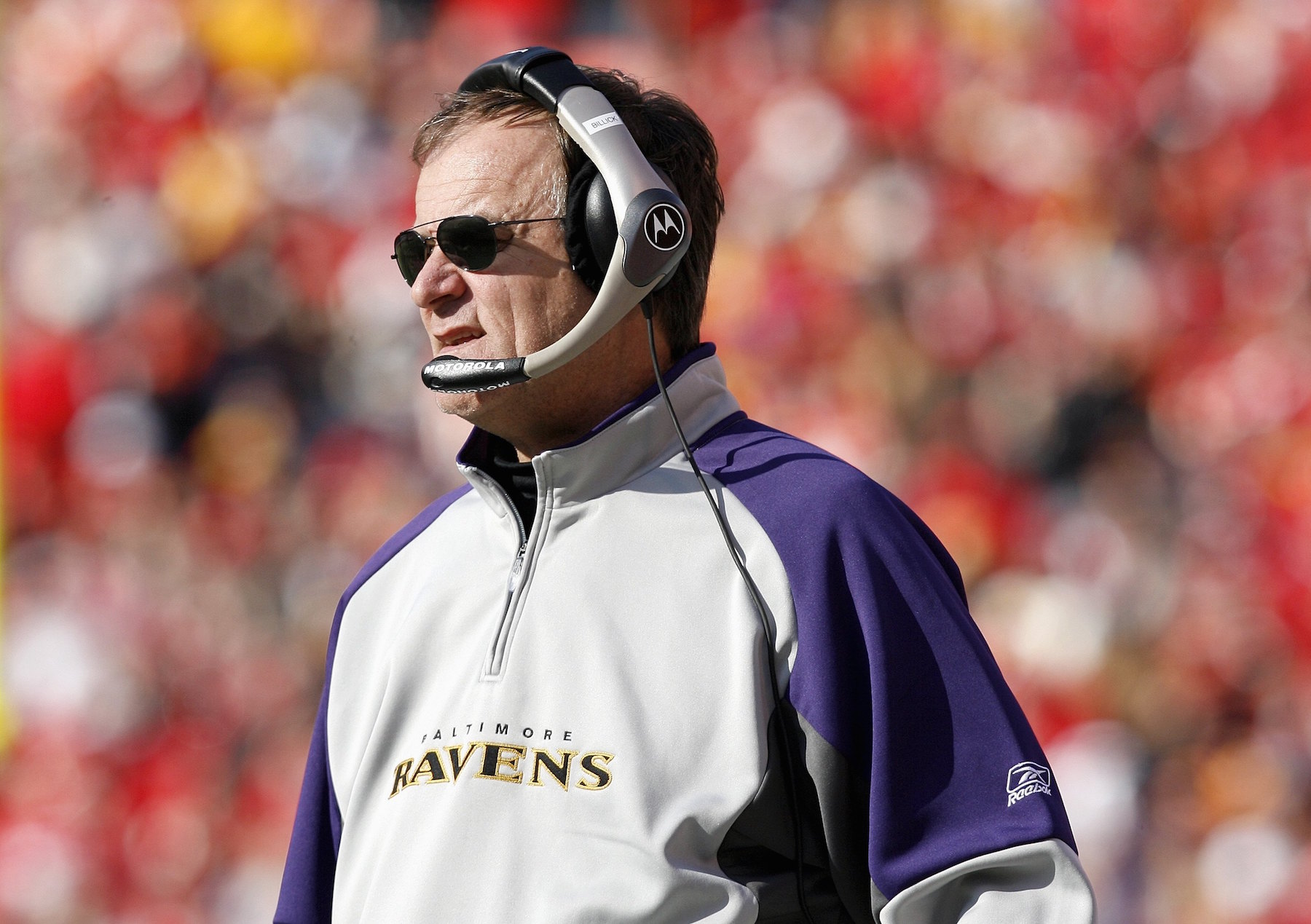 KANSAS CITY, MO - DECEMBER 10: Head coach Brian Billick of the Baltimore Ravens looks on during the game against the Kansas City Chiefs at Arrowhead Stadium December 10, 2006 in Kansas City, Missouri. The Ravens beat the Chiefs 20-10. (Photo by Dilip Vishwanat/Getty Images)