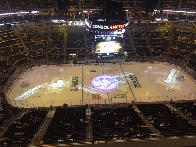 Consol Energy Center prior to the start of Game One (Mike Harrington/Buffalo News).