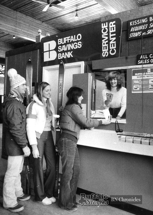 Buffalo Savings Bank opened a temporary branch serving skiers at Kissing Bridge in 1980. Buffalo News archives