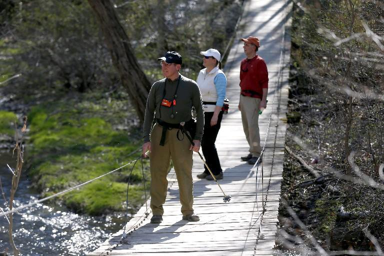 From left, Richard Schraven (dark cap) Janet and David Kowalski are among the hikers with the Adirondack Mountain Club. (Robert Kirkham/Buffalo News file photo)