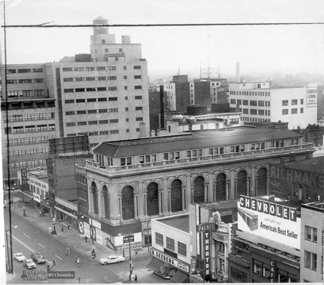 1964, just before the demolition of the 1916-built M&T headquarters and Bond Menswear. AM&A's is in the background. The block with H. Seeberg and The Palace Burlesk was torn down, and is now green space. (Buffalo News archives)