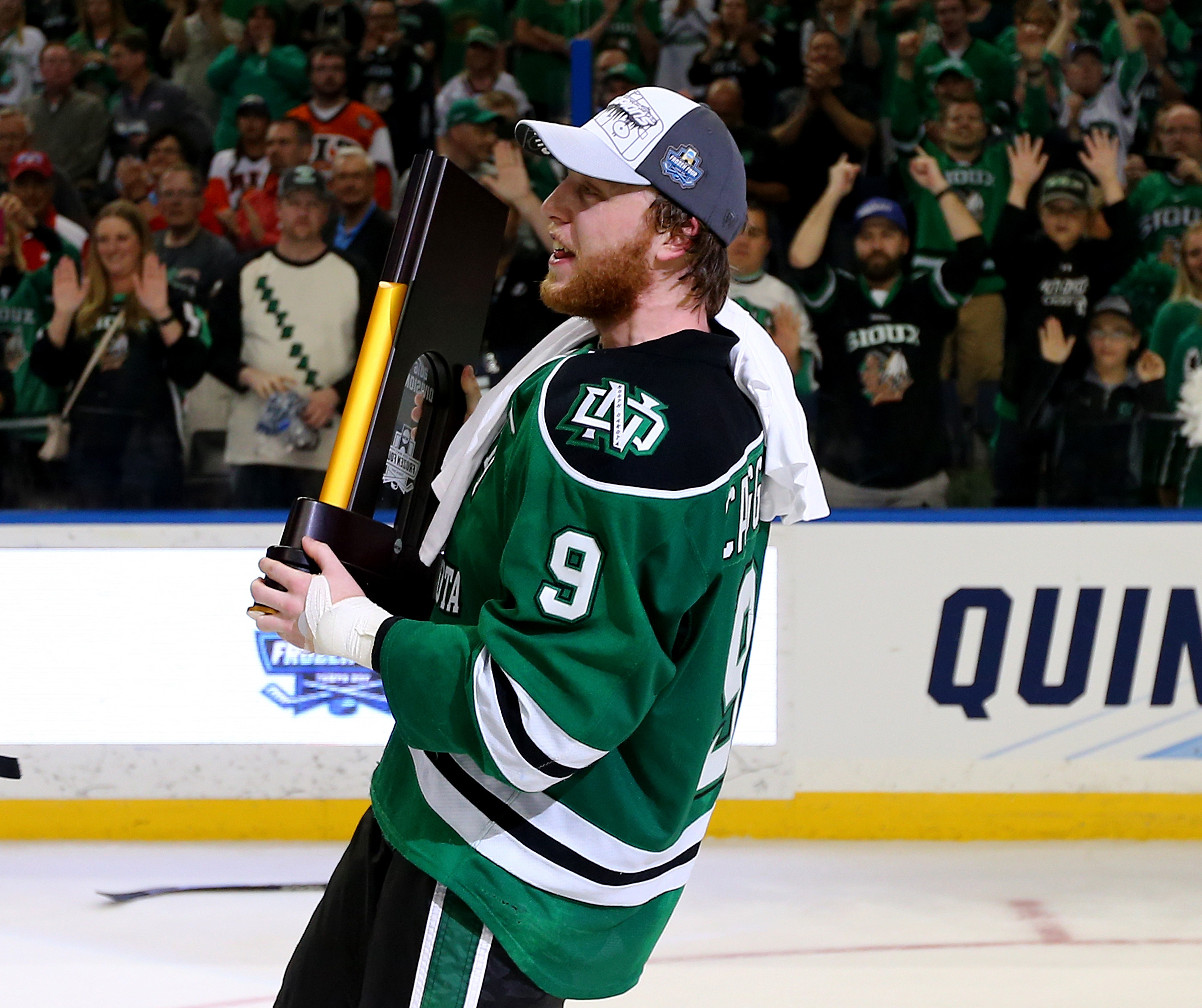 Drake Caggiula recorded 25 goals and 51 points for champion North Dakota. (Getty Images)