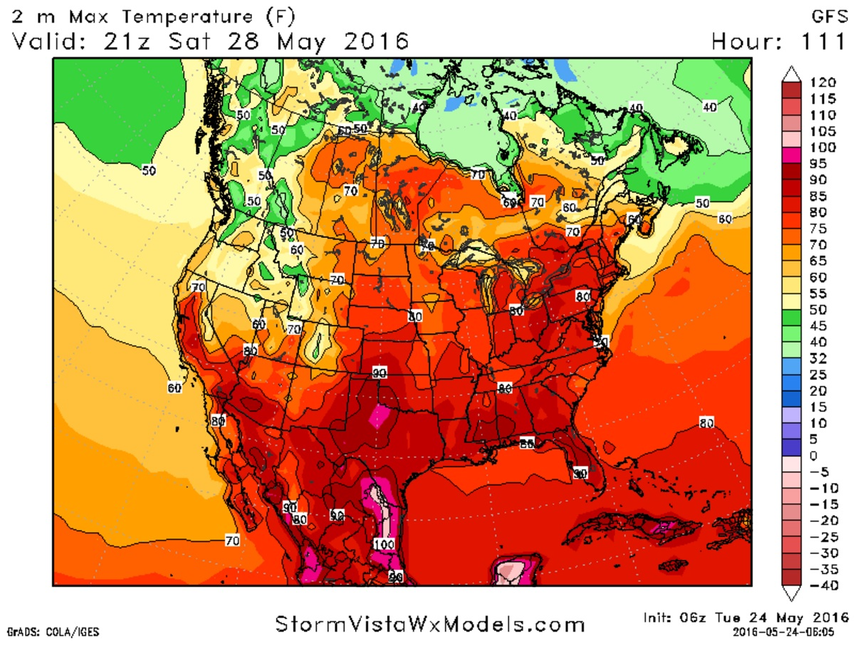 Sultry weather will take hold from the Continental Divide all the way to the East Coast Saturday with temperatures in Buffalo forecast in the mid-80s by dinnertime Saturday. (StormVistaWxModels.com)