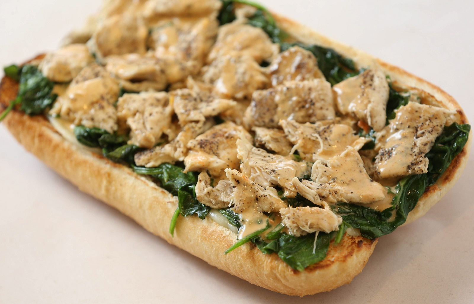 The chicken in the grass sub from Jim's Steakout. (Sharon Cantillon/Buffalo News)